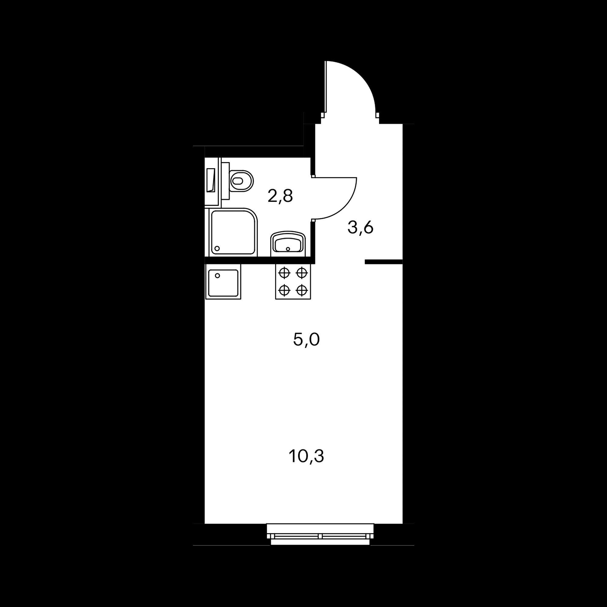 Студия 21.7  м²