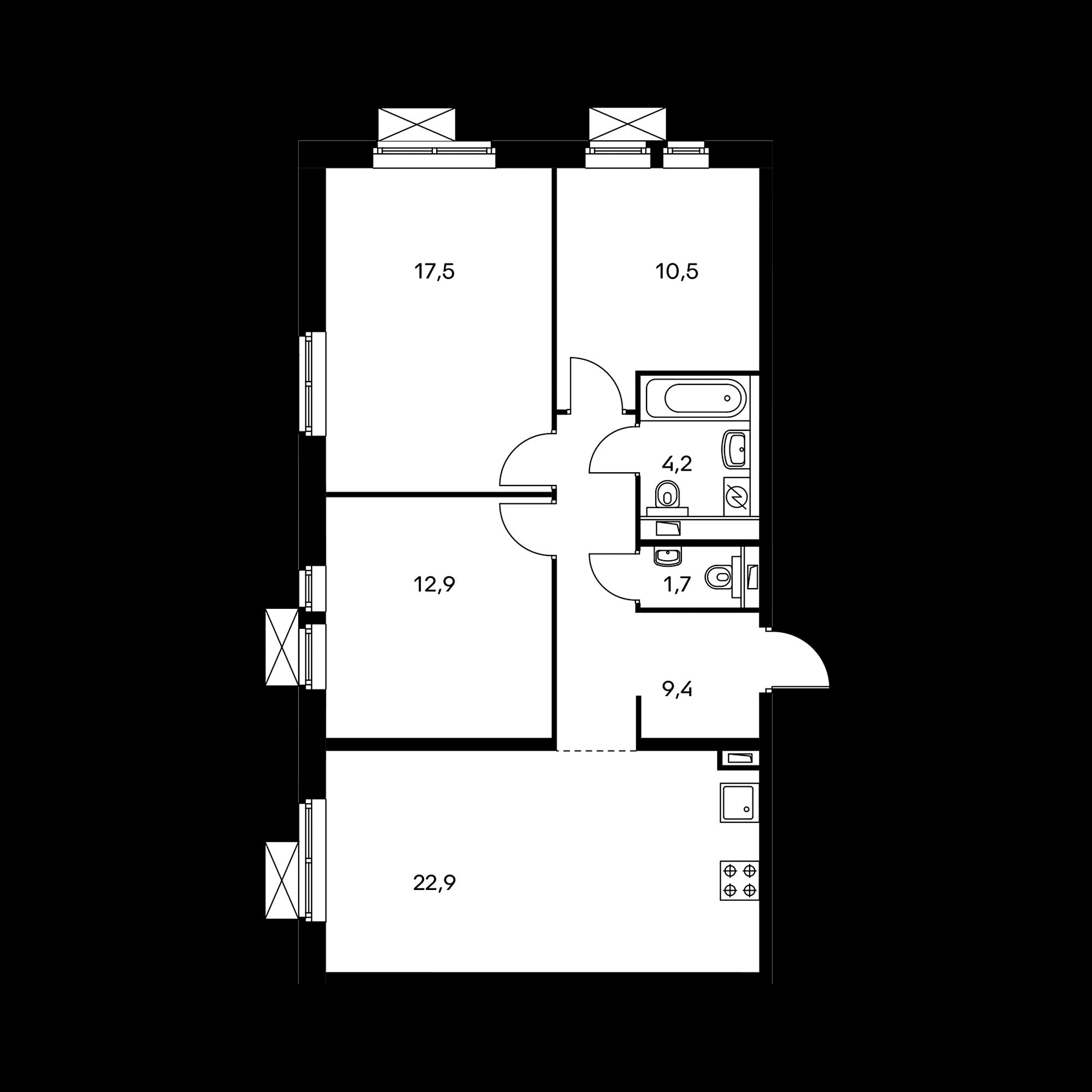 3-комнатная 79.1 м²