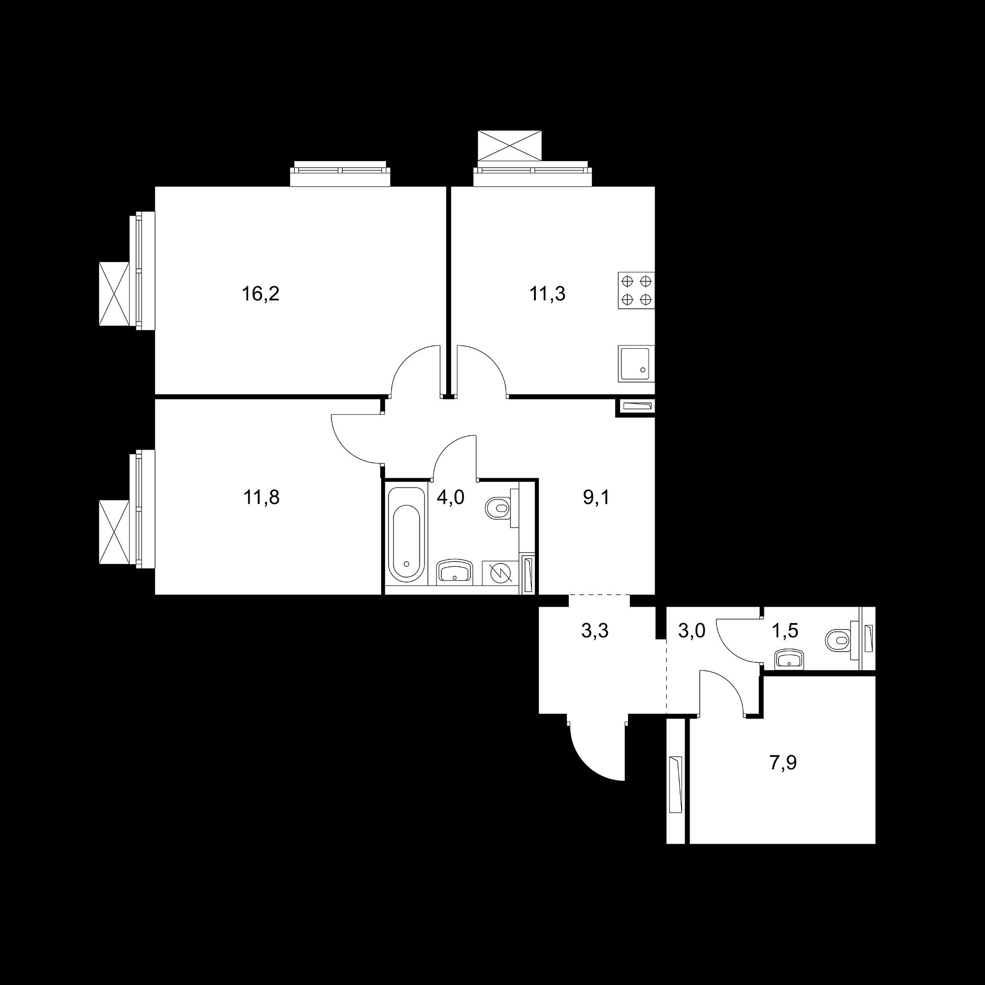 2-комнатная 68.1 м²