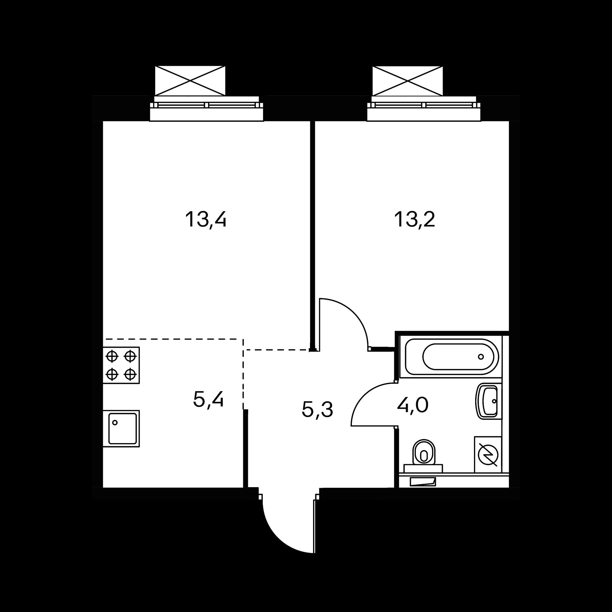 2-комнатная 41.5  м²