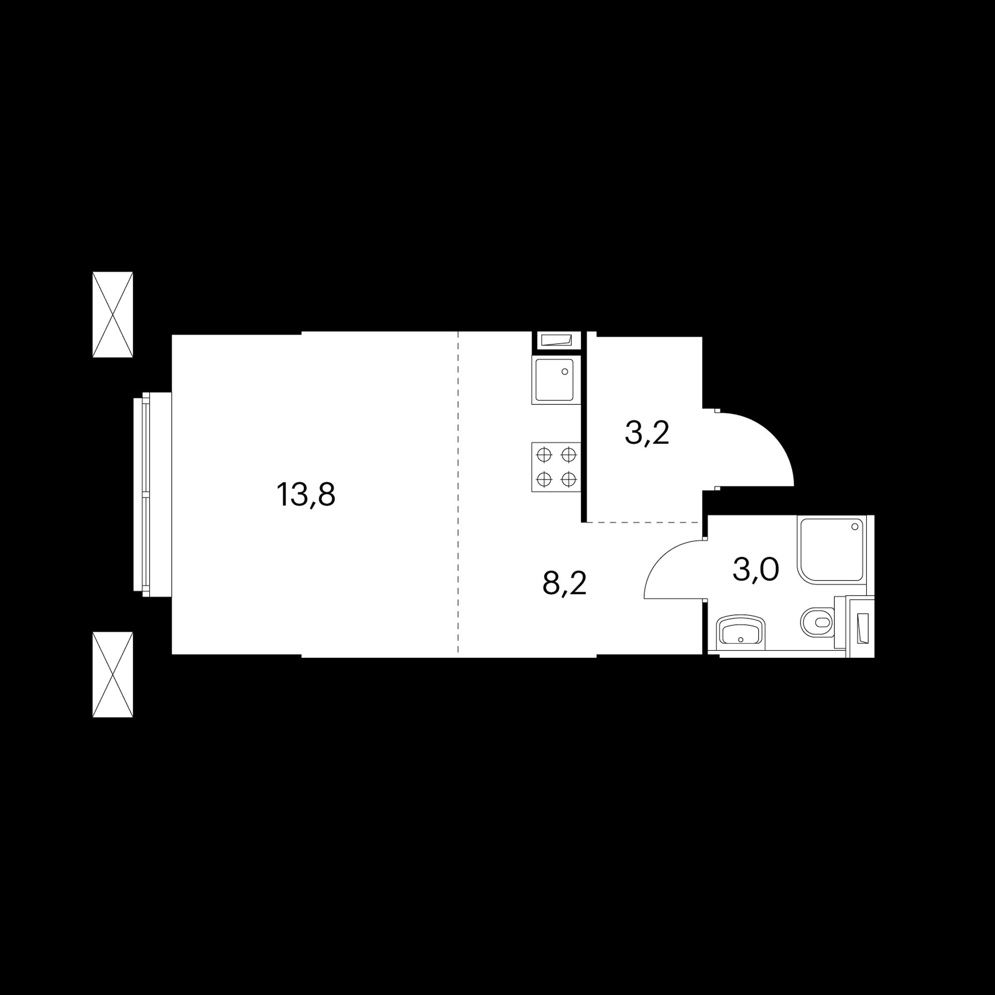 Студия 28.2  м²