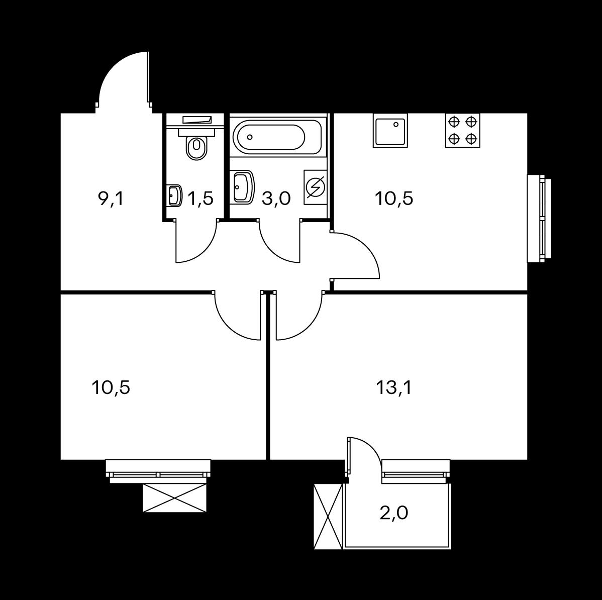 2-комнатная 48.1  м²