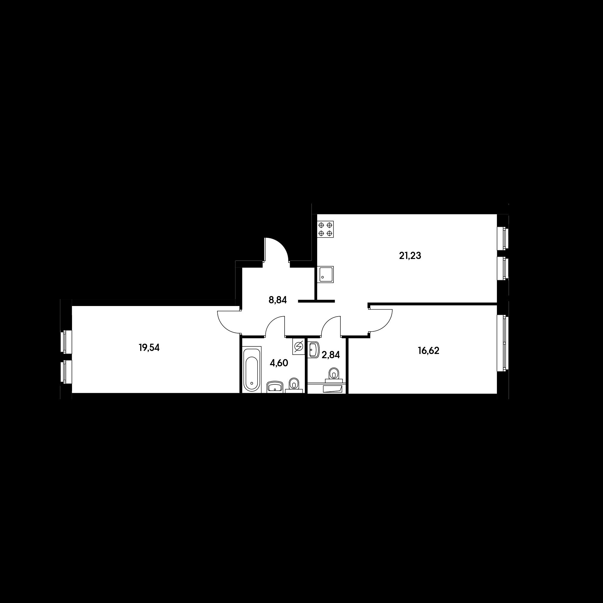 2-комнатная 72.4  м²