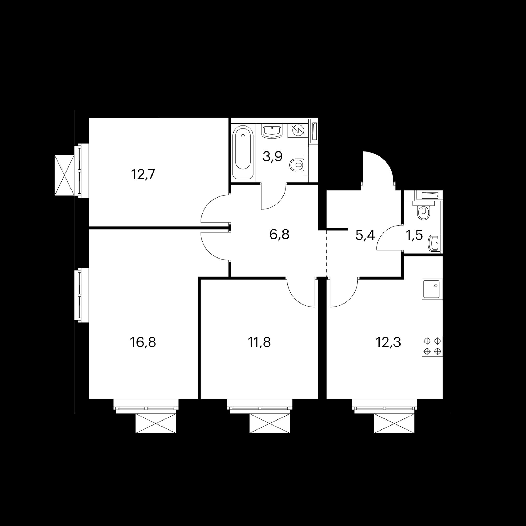 3-комнатная 71.2 м²