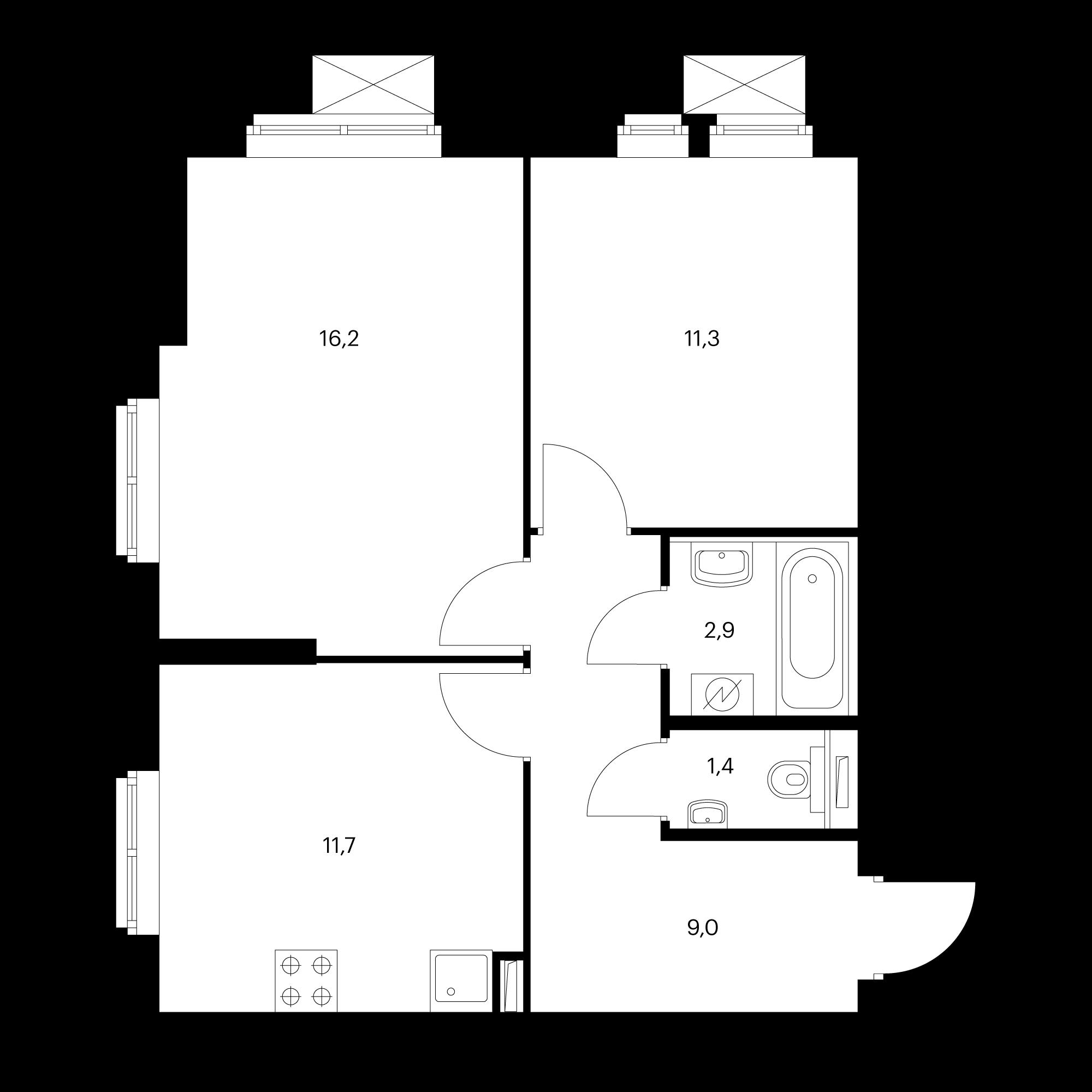 2-комнатная 52.5 м²