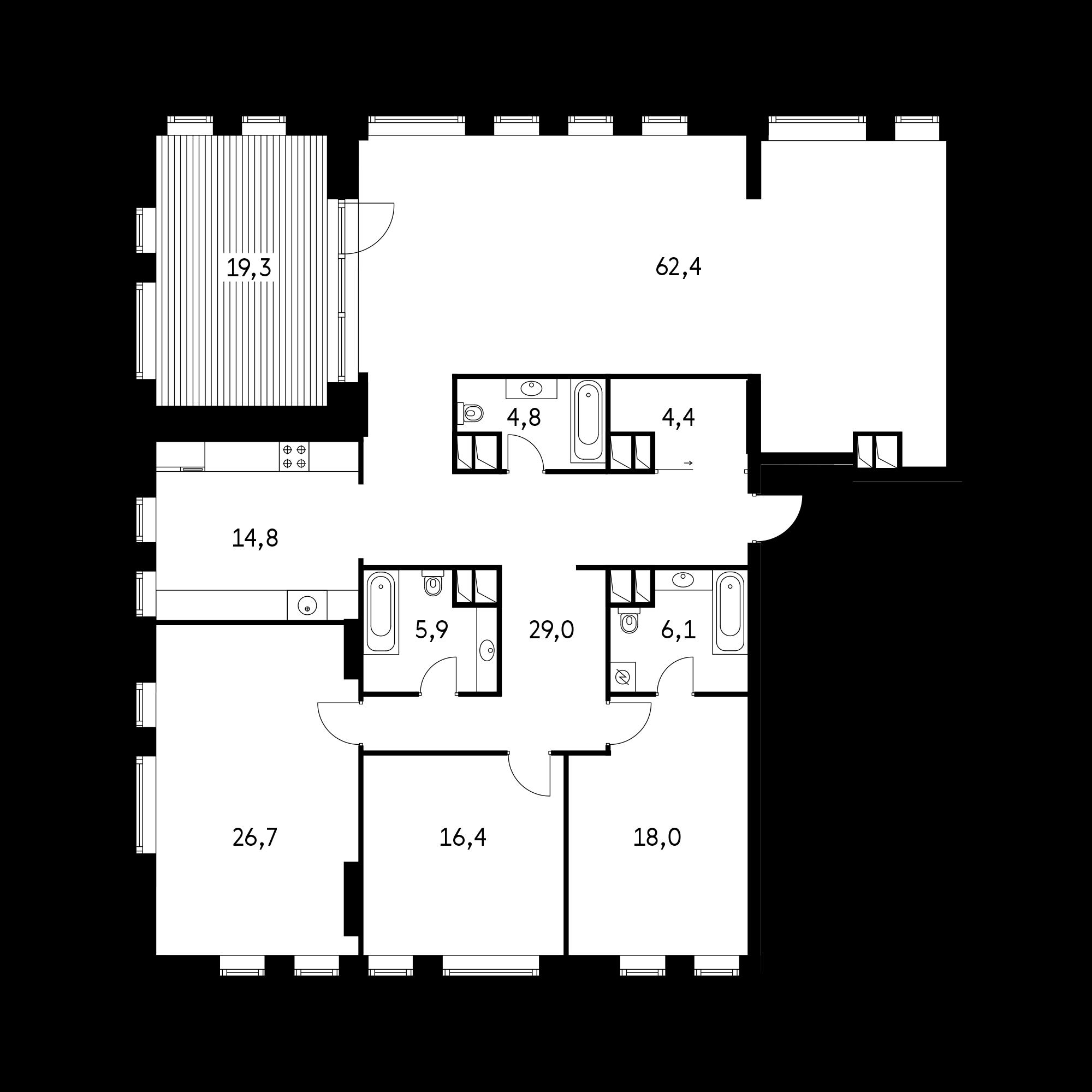 4-комнатная 183.8  м²
