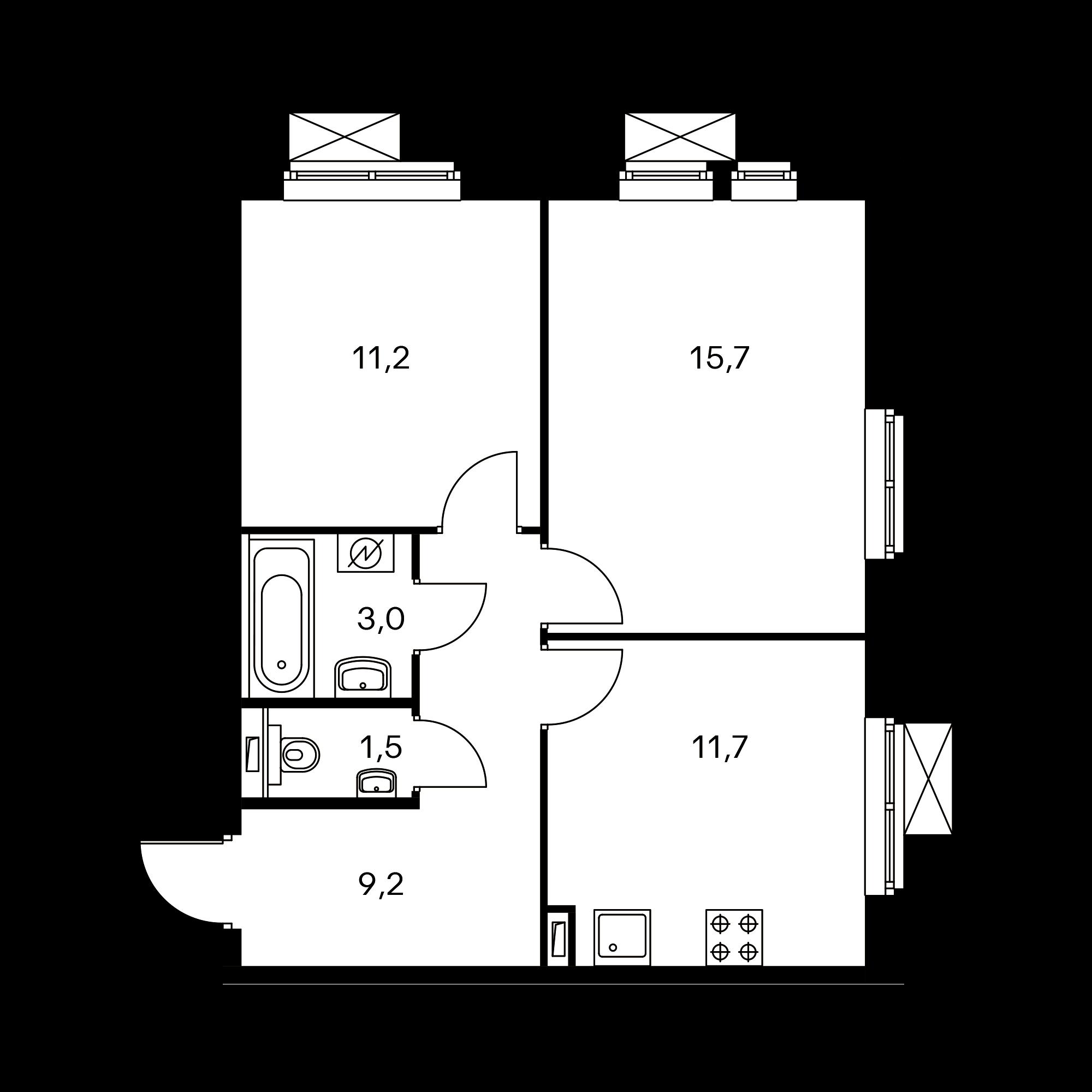 2-комнатная 52.3 м²