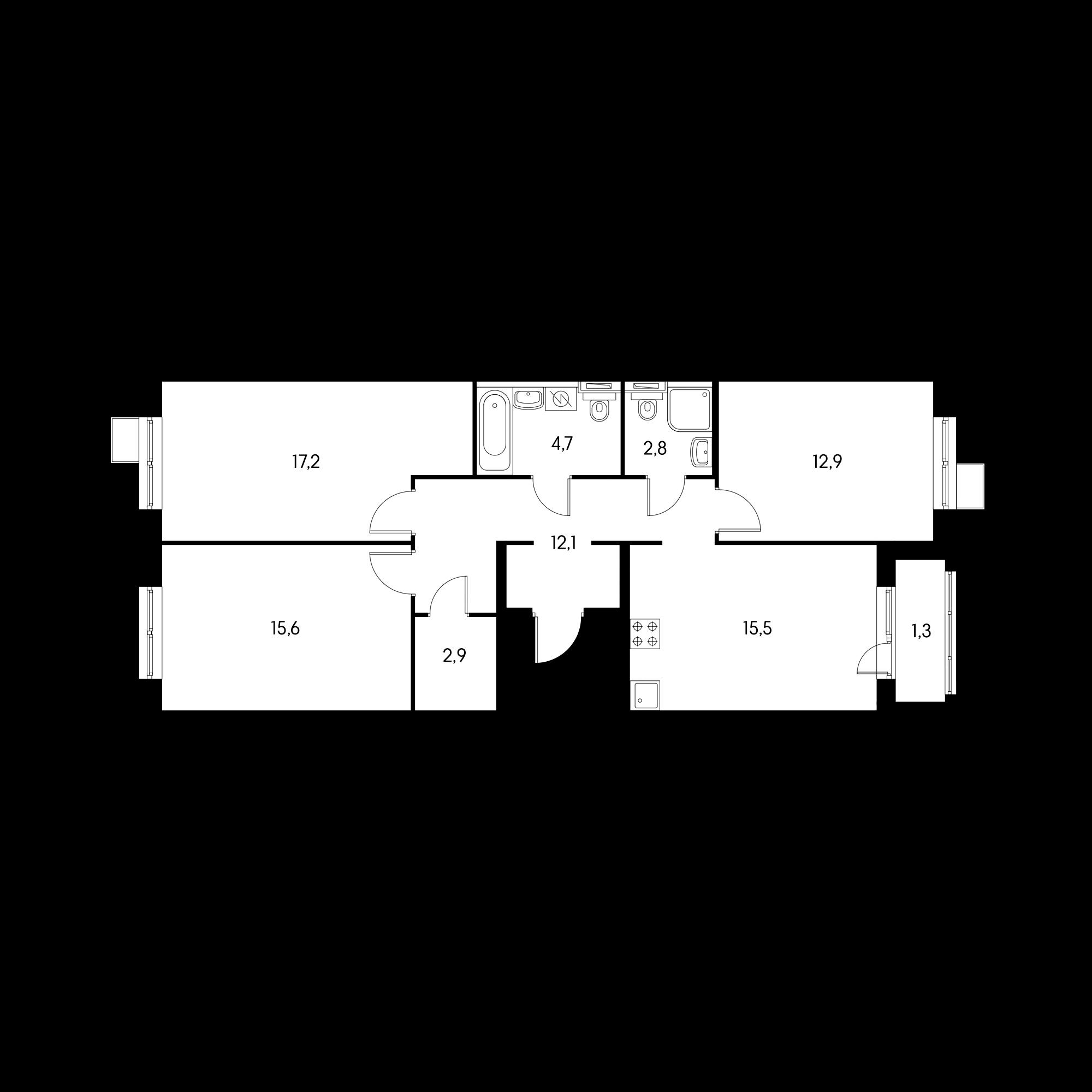 3-комнатная 83.1  м²