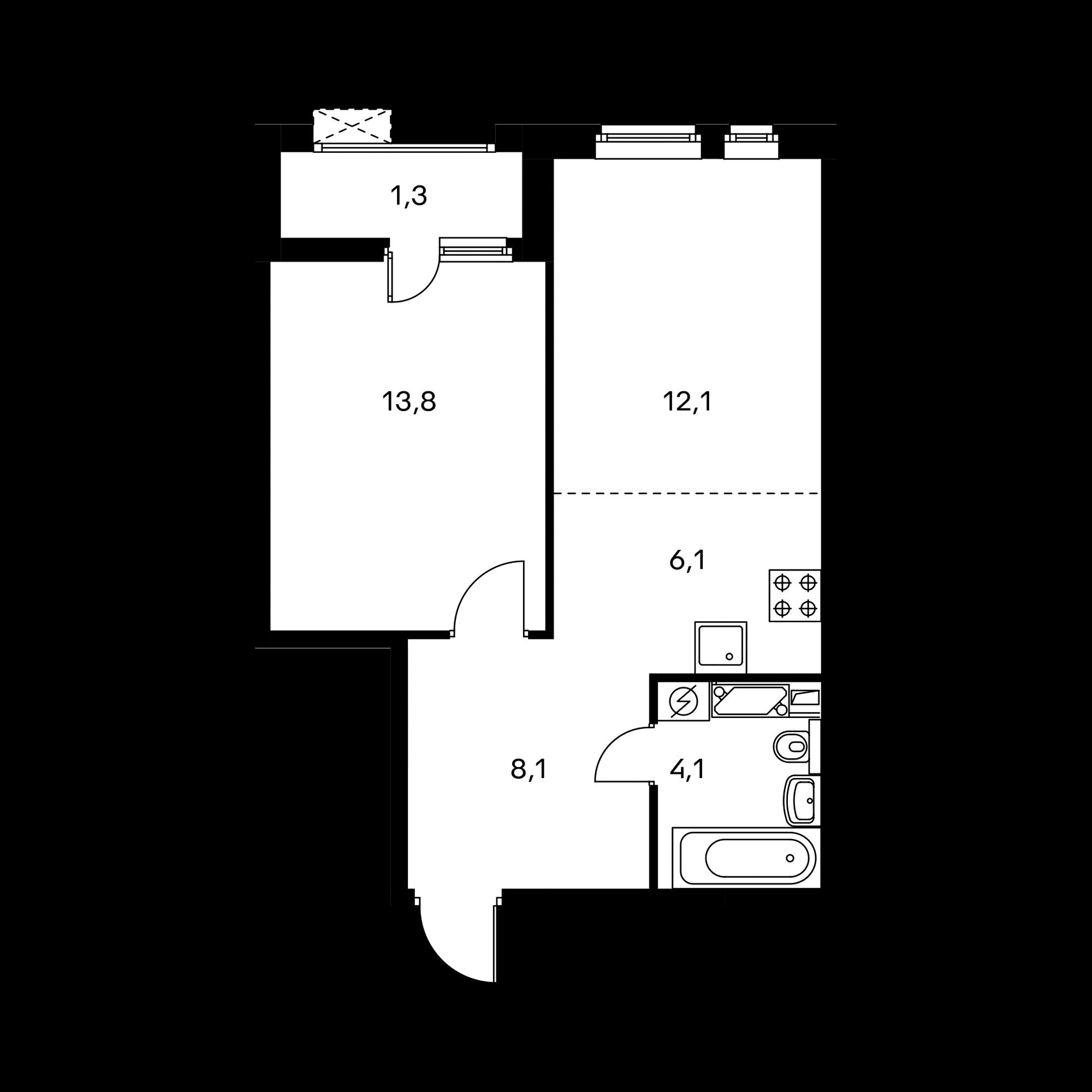 2-комнатная 45.5 м²