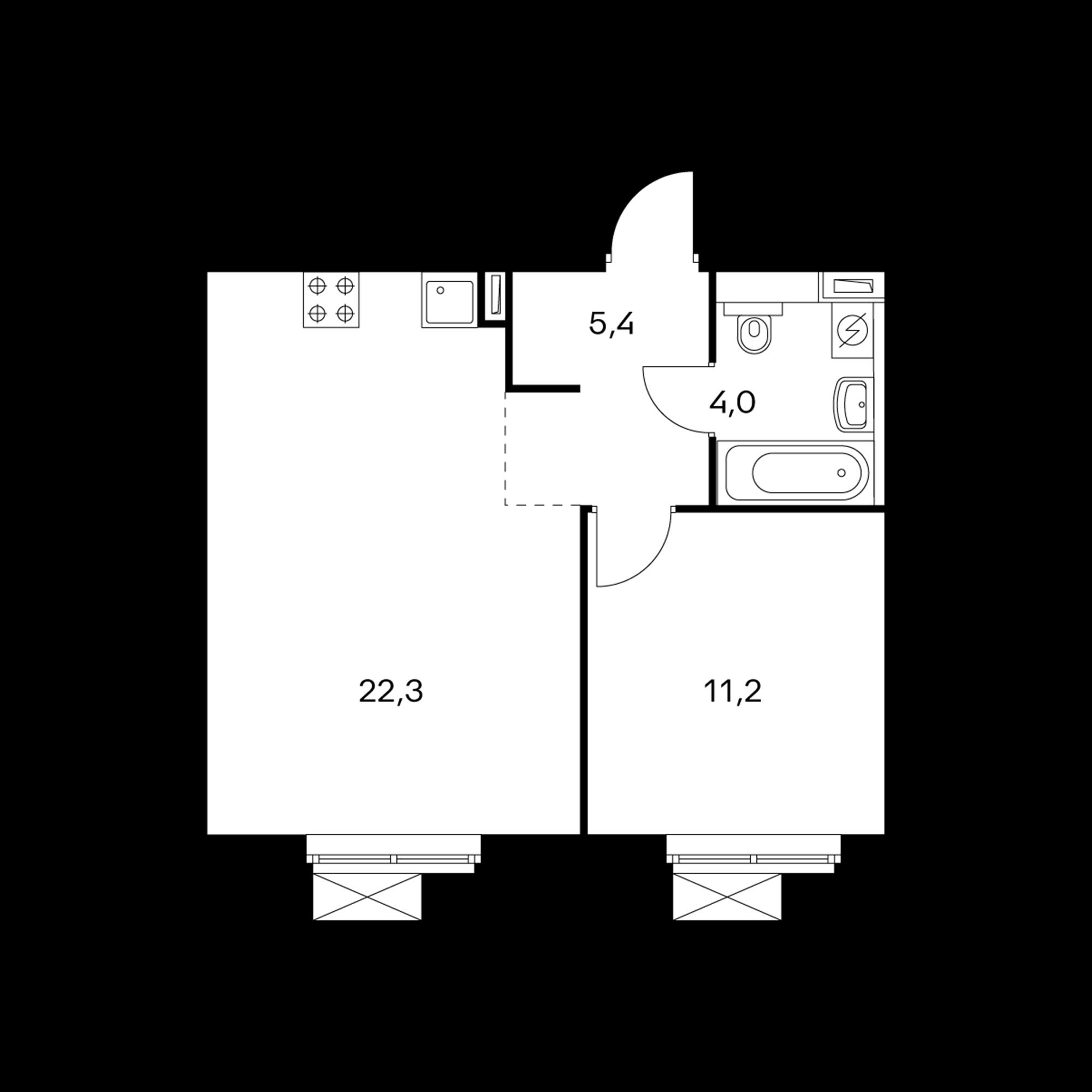 1-комнатная 42.9 м²