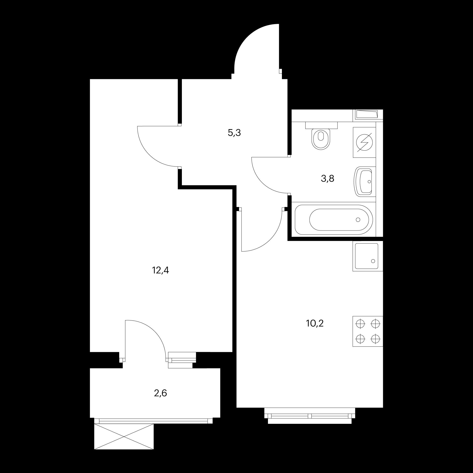 1-комнатная 33 м²