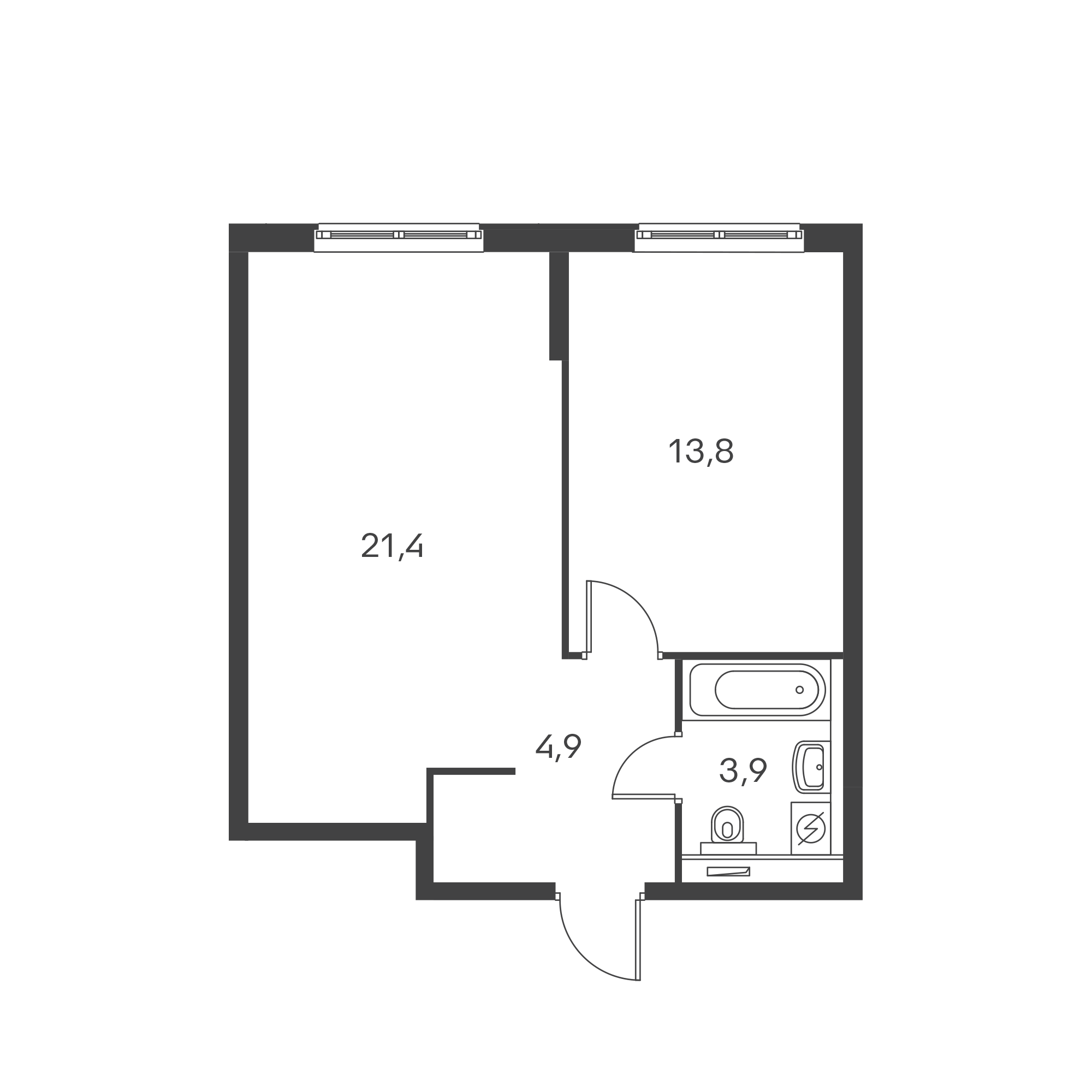 1-комнатная 44  м²