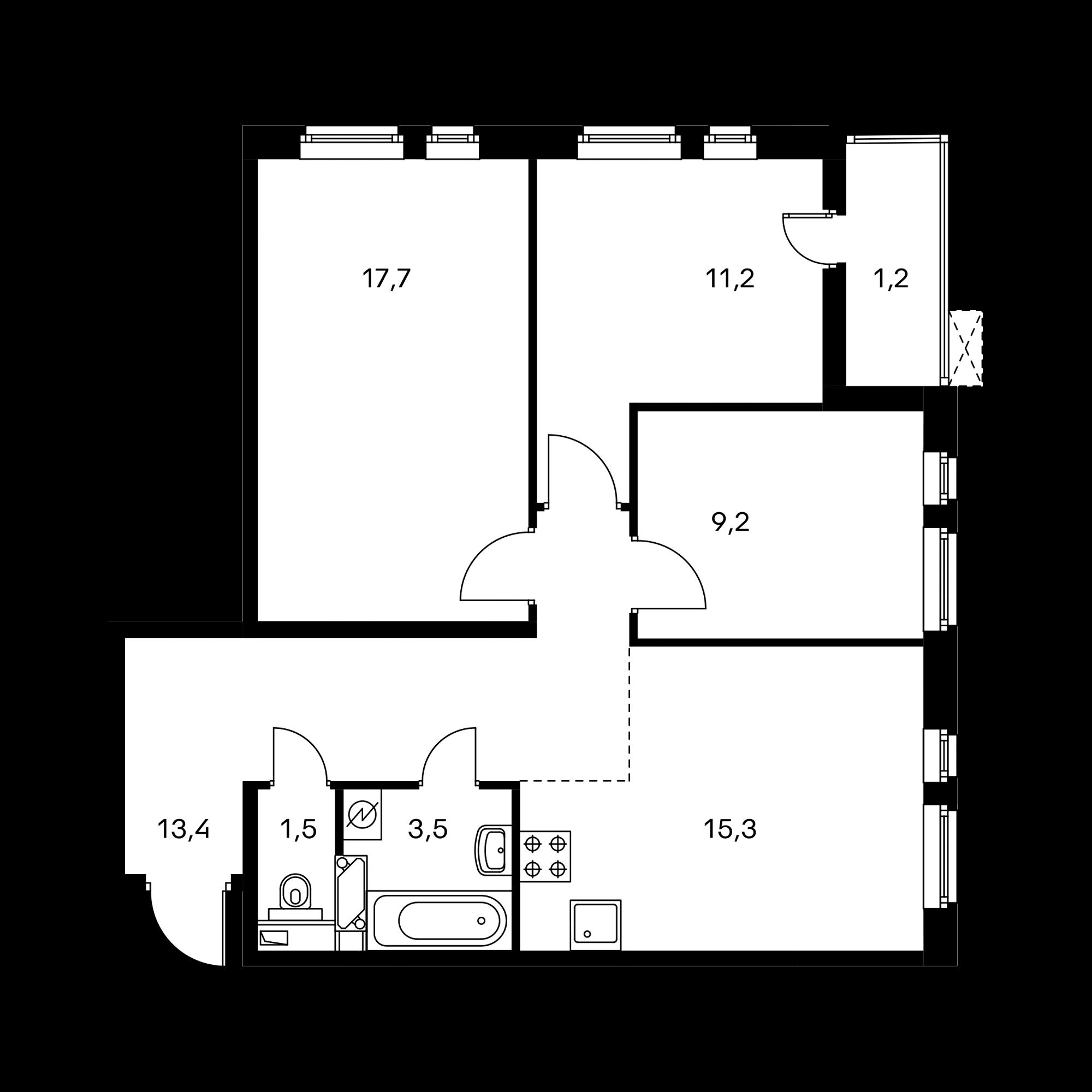 3-комнатная 73 м²