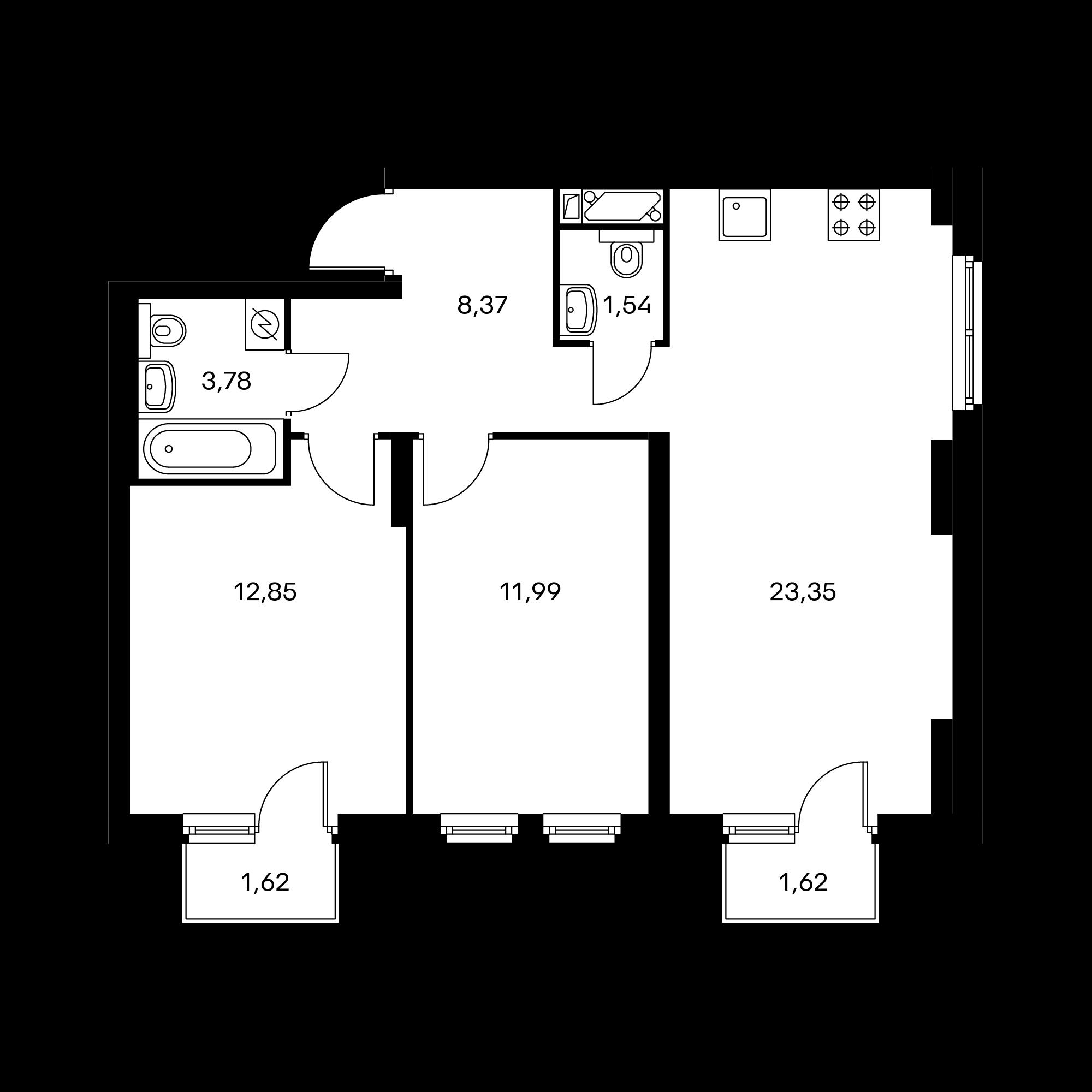 2-комнатная 62.86 м²