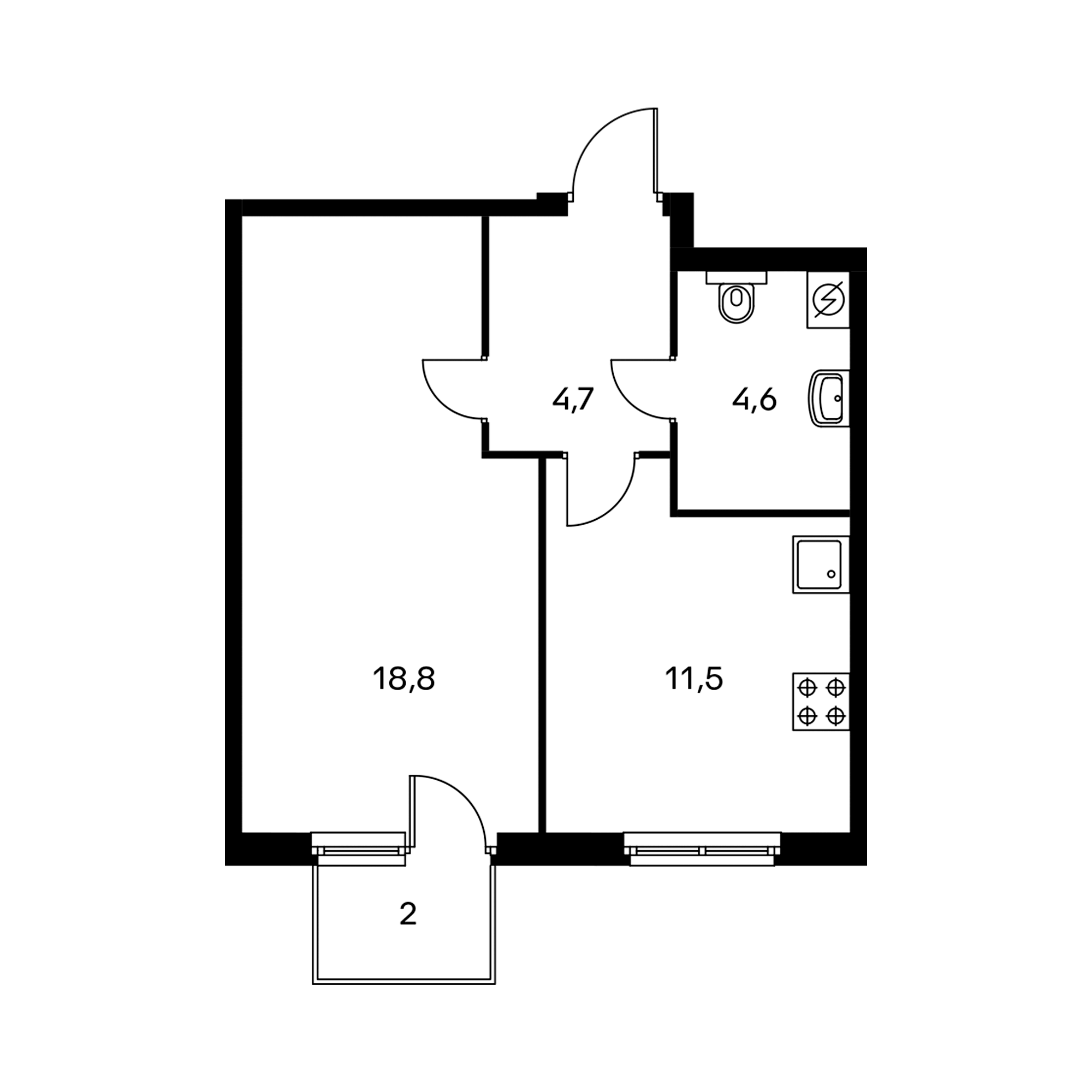 1-комнатная 40.2  м²