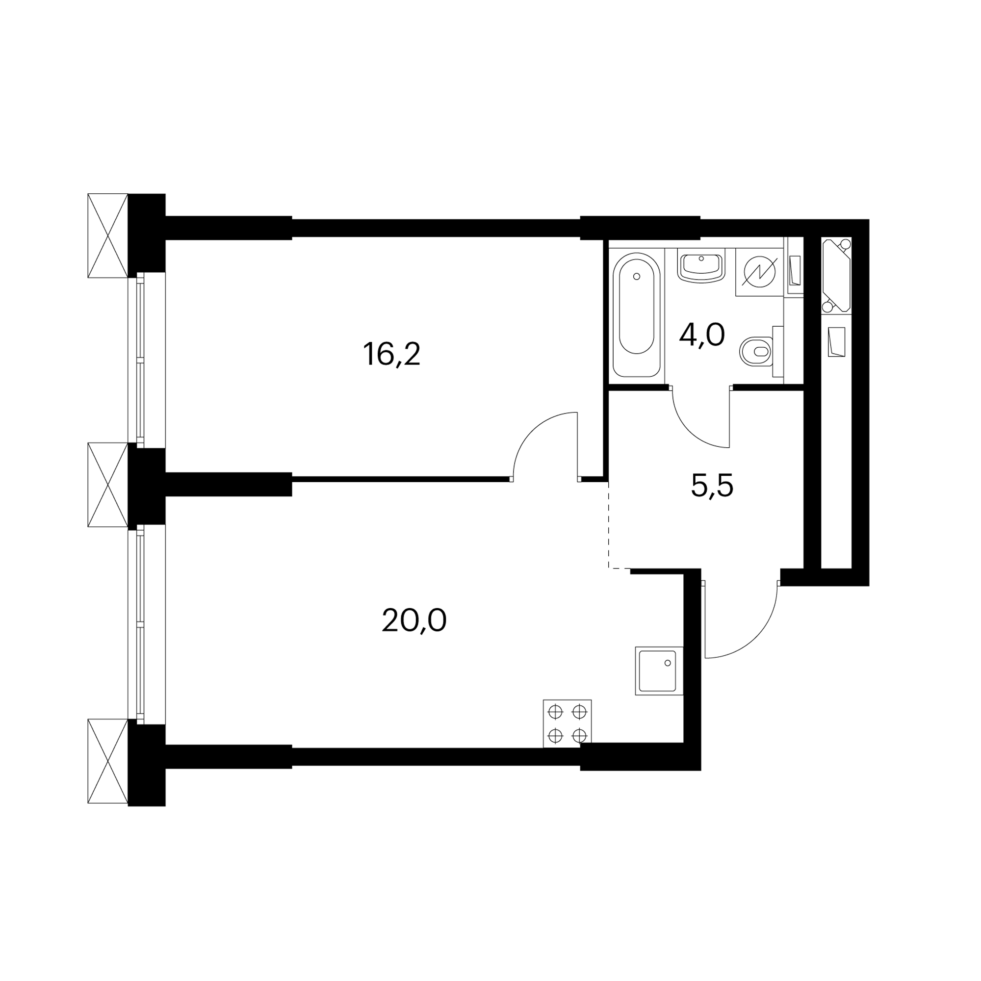 1-комнатные 45.8  м²