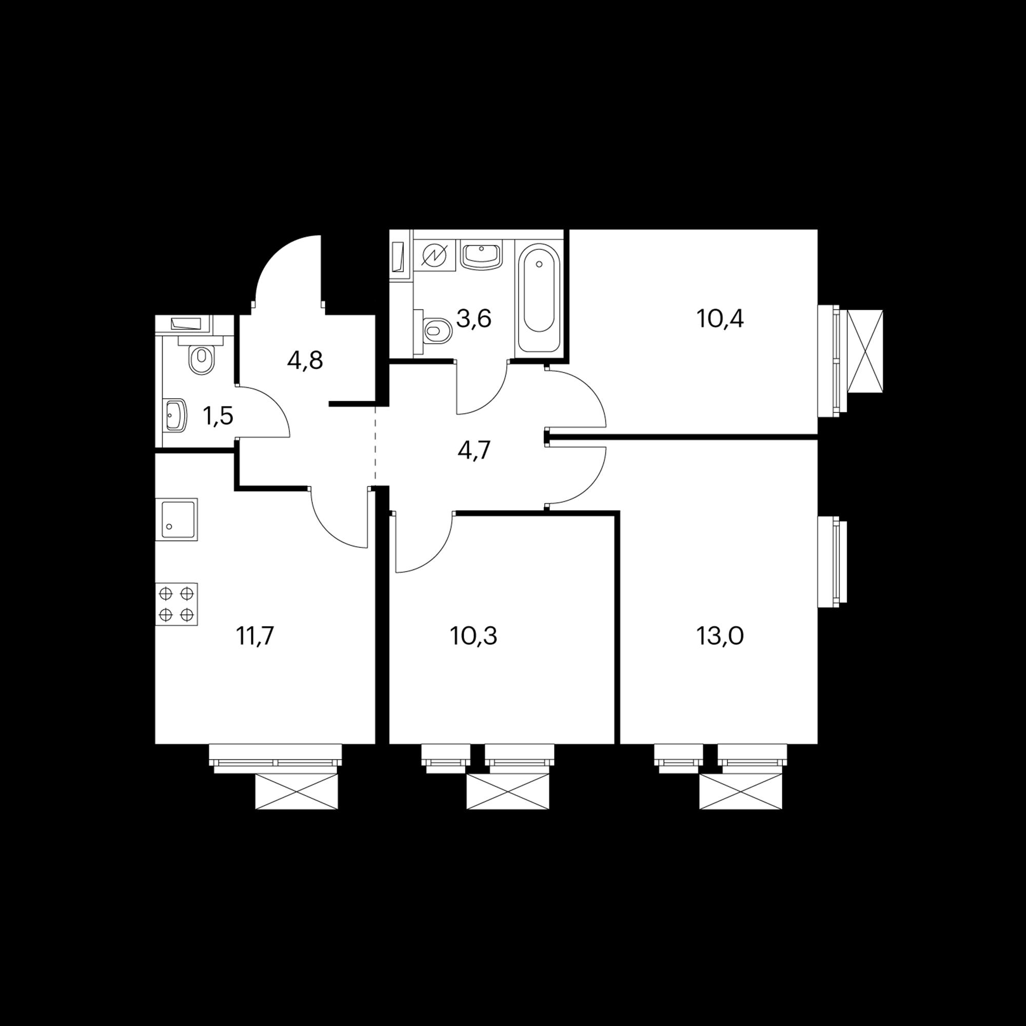 3-комнатная 61 м²