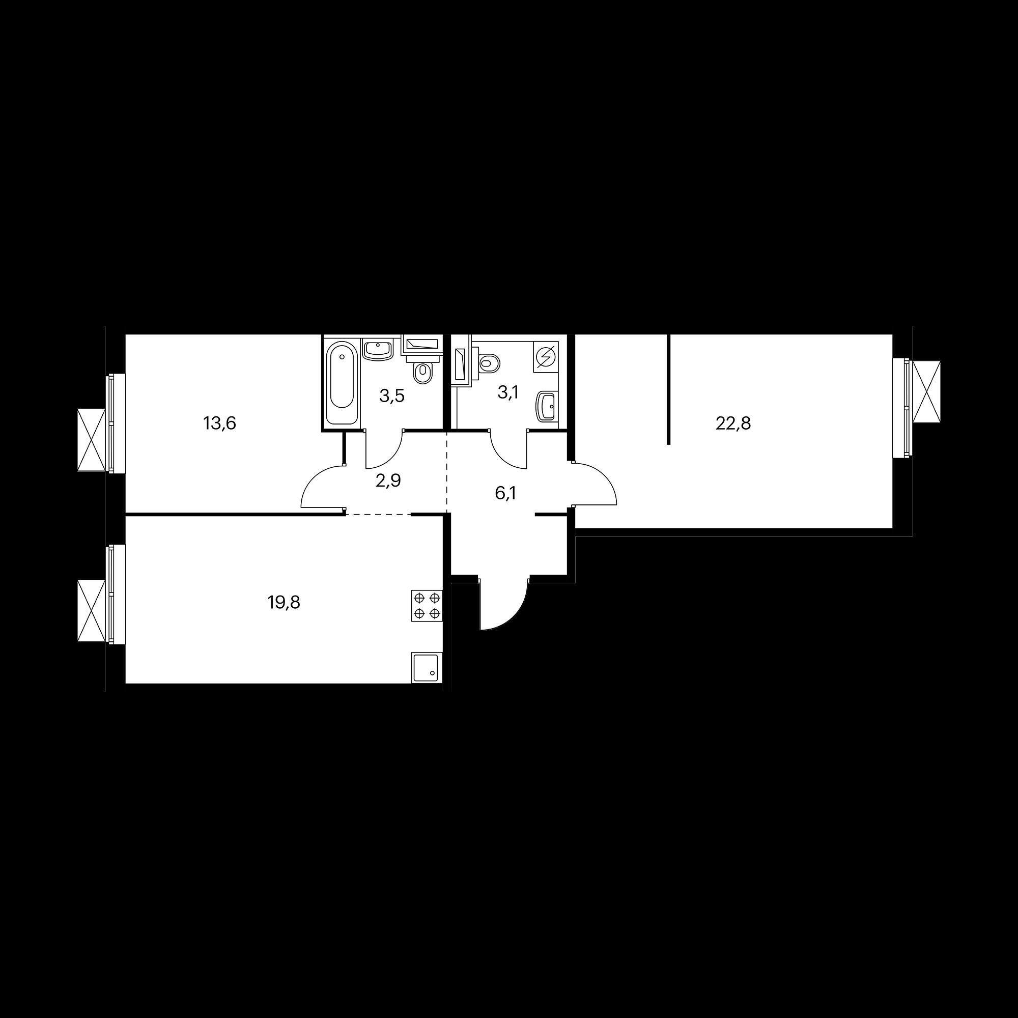 2-комнатная 71.8 м²