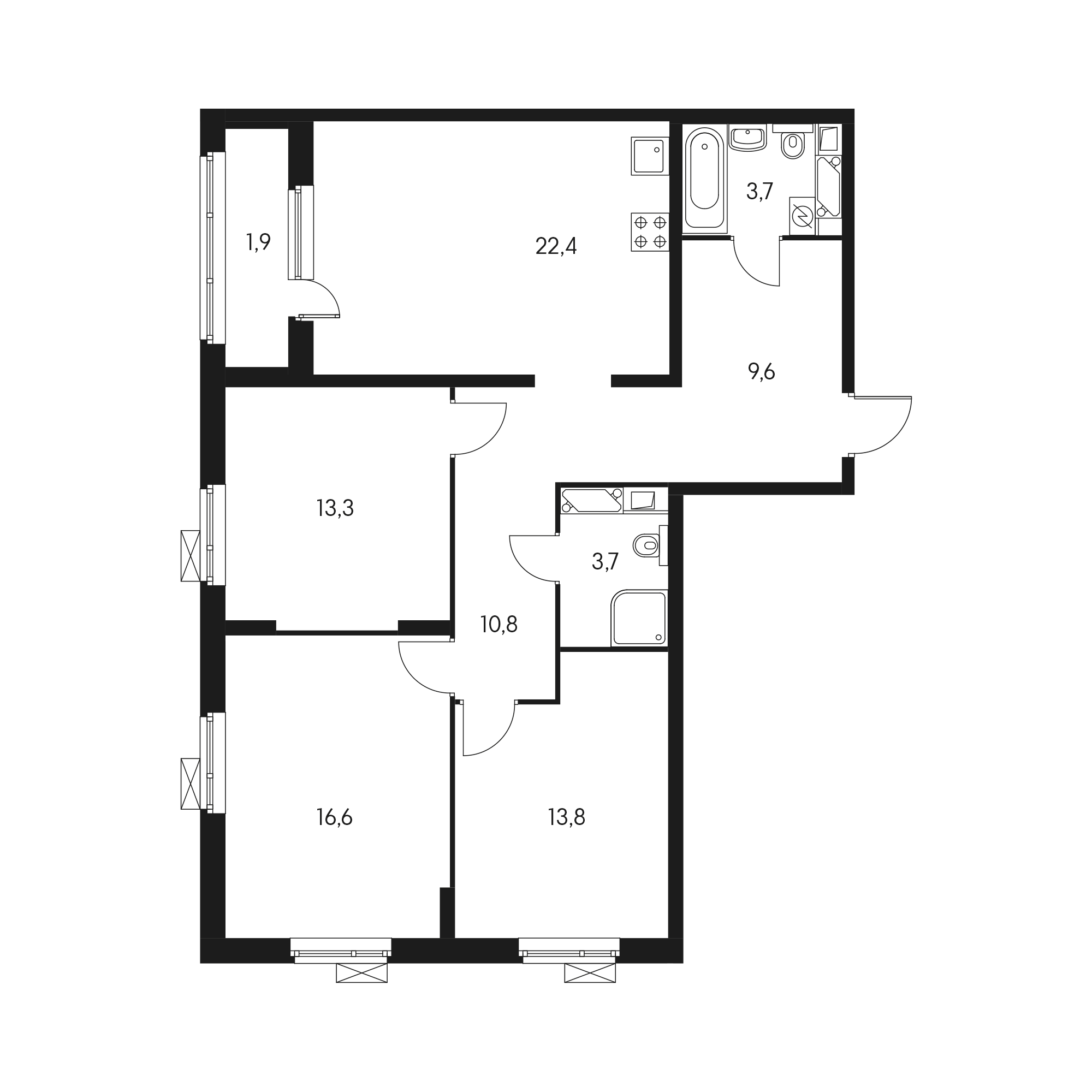 3-комнатная 97  м²