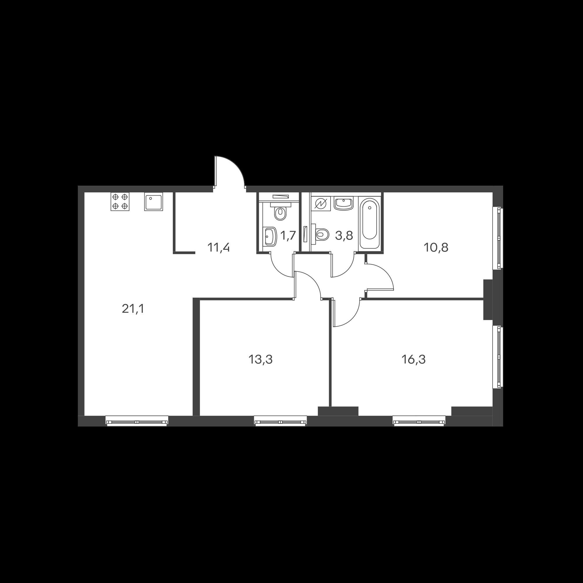 3-комнатная 78.4 м²