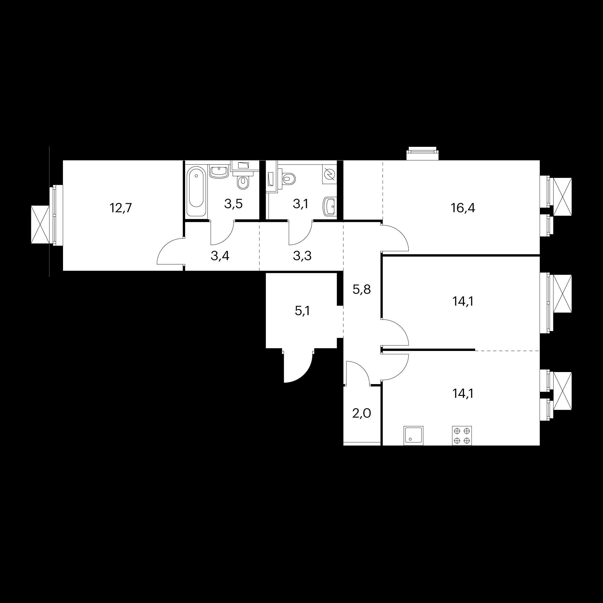 3-комнатная 83.5 м²