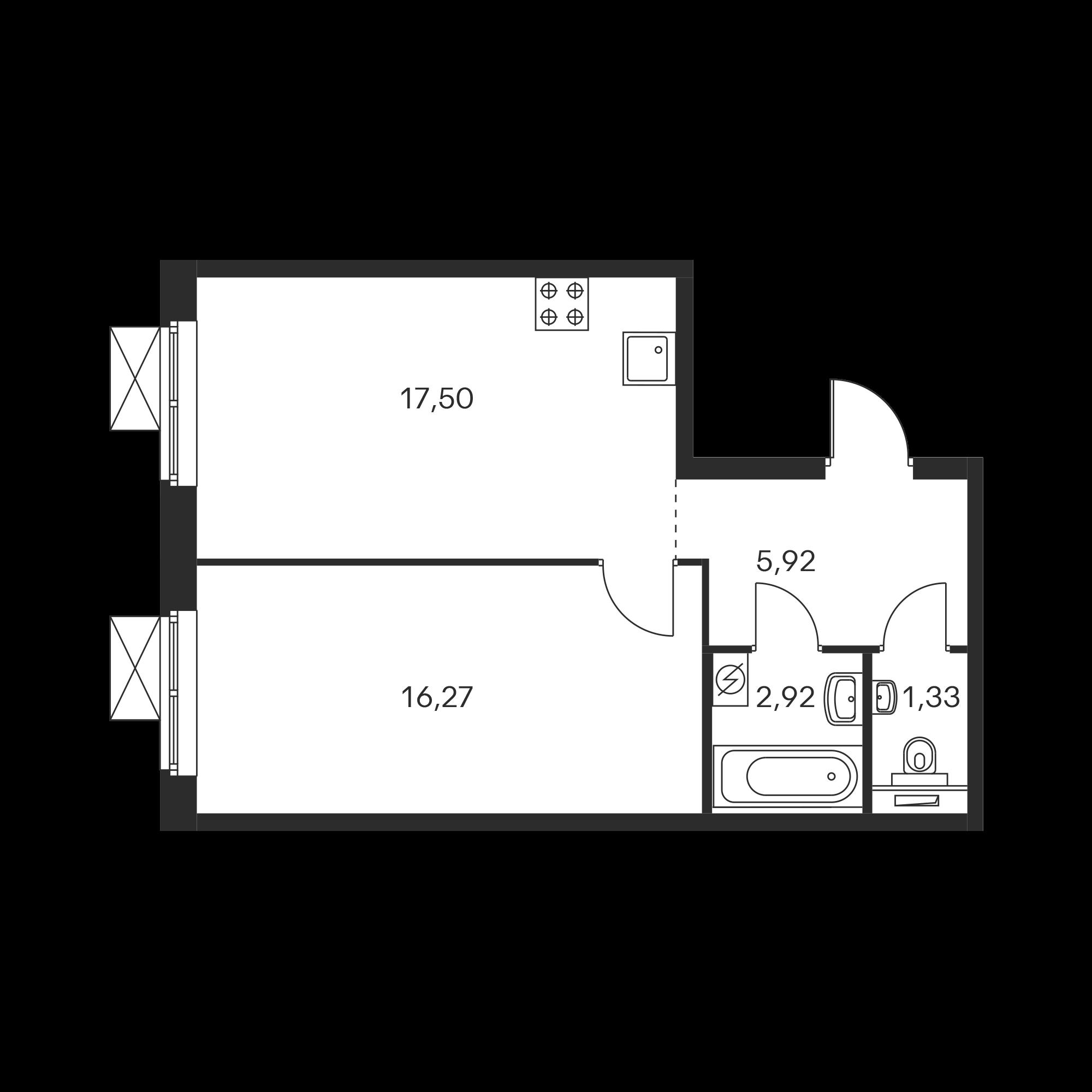 1-комнатная 43.89  м²