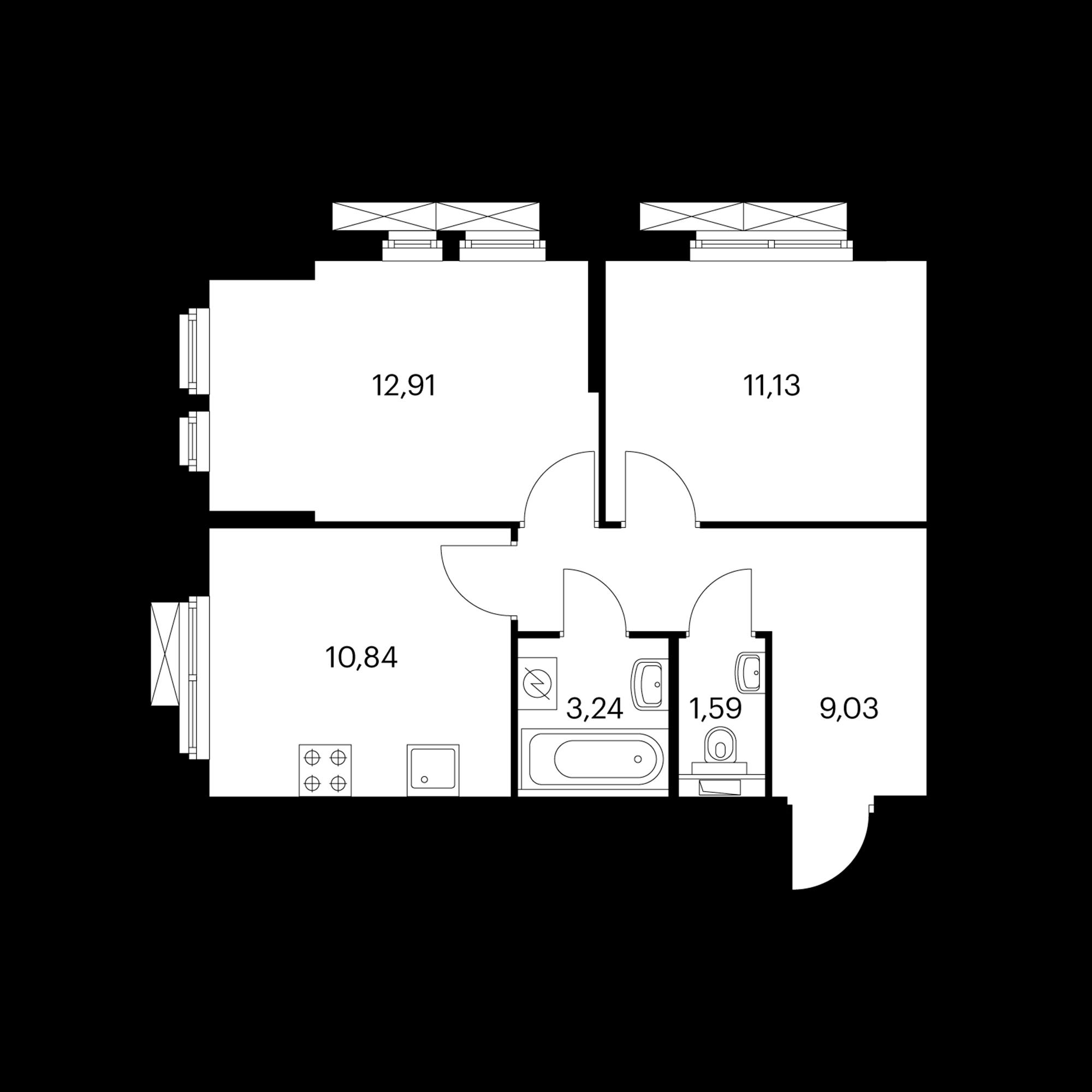 2-комнатная 48.74 м²