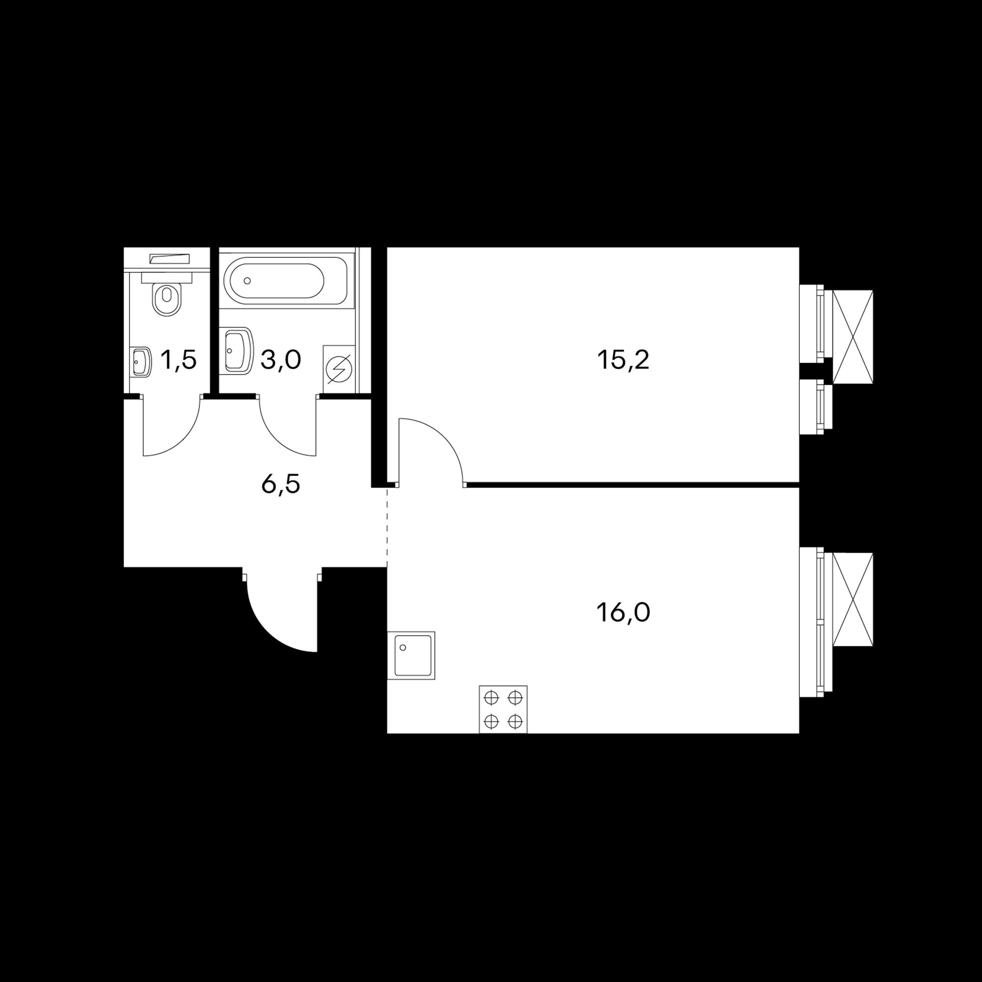 1-комнатная 42.2 м²