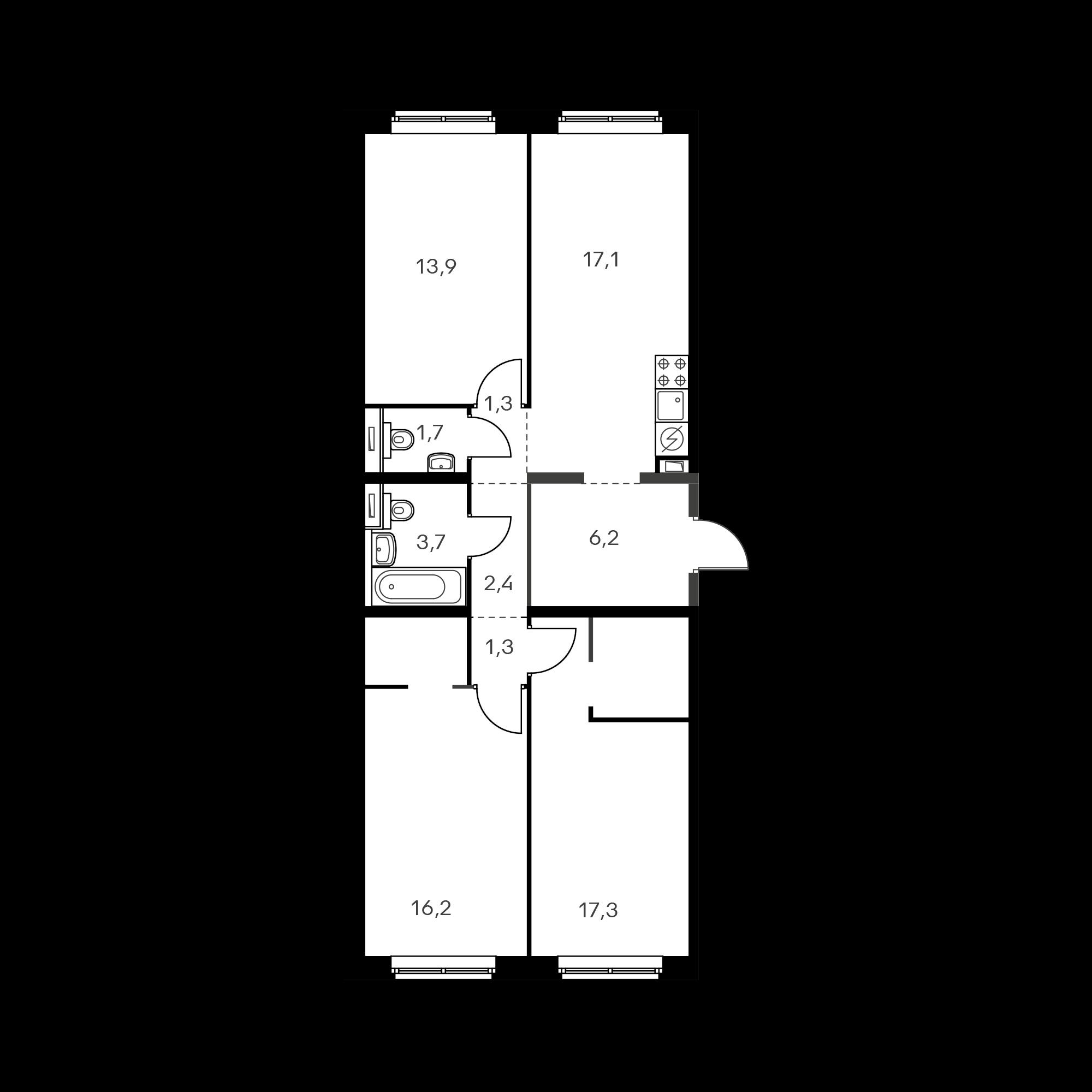 3-комнатная 80.9  м²