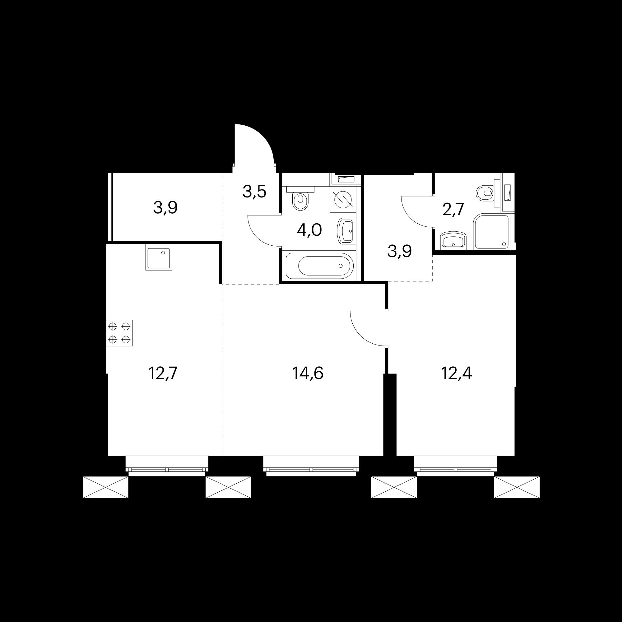 2-комнатные 57.7 м²