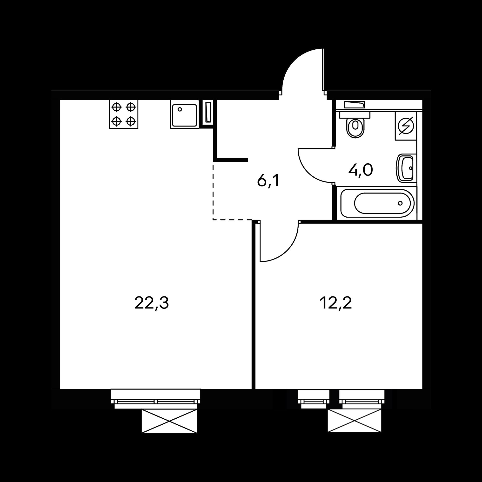 1-комнатная 45.1  м²