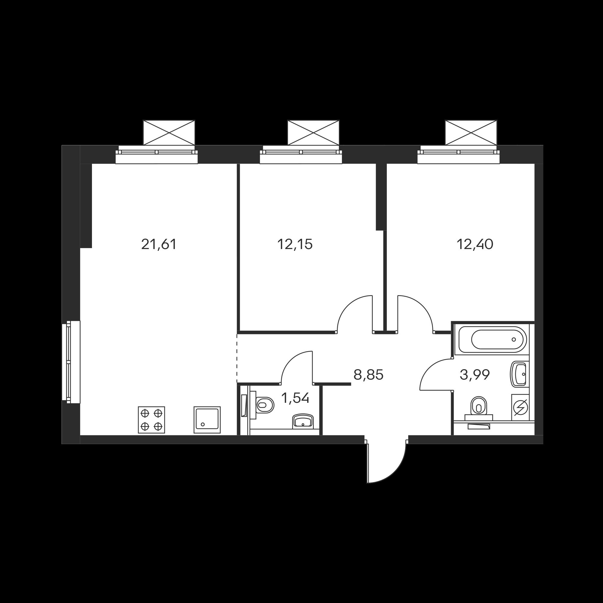 2-комнатная 60.35  м²