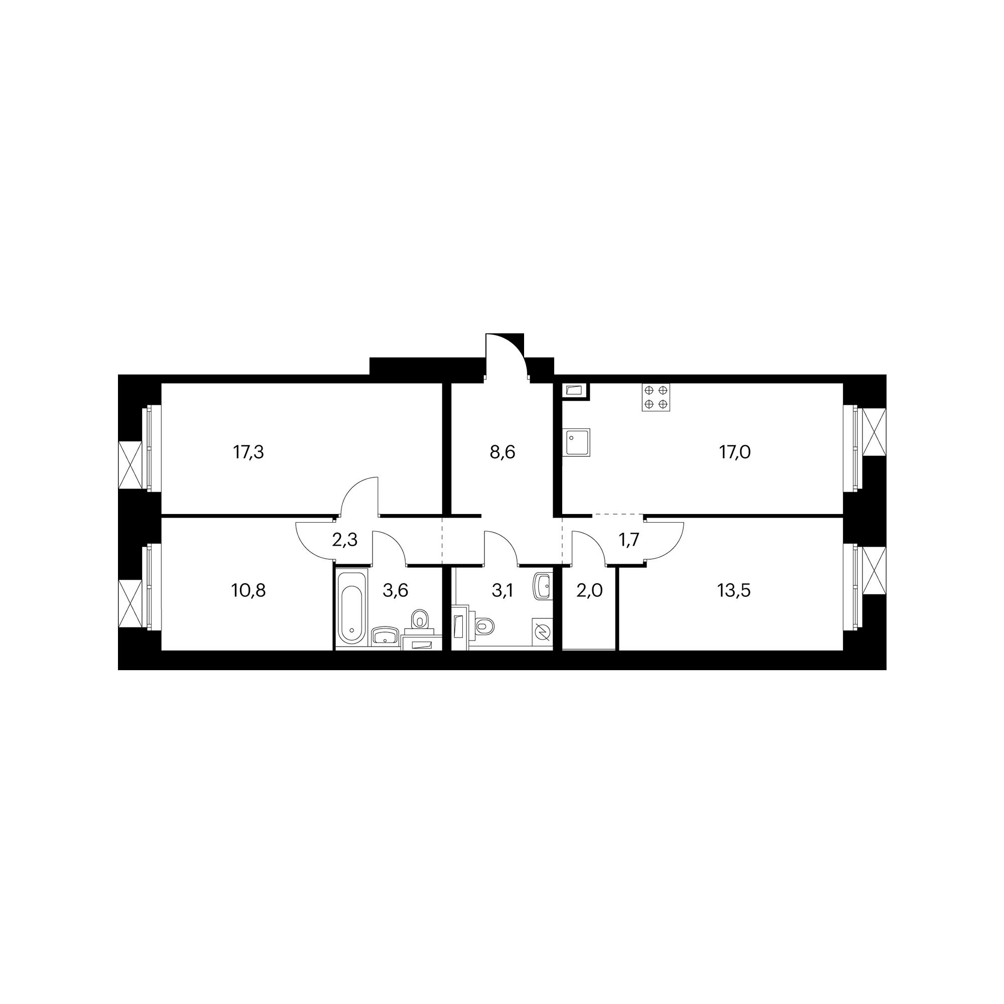 3-комнатная 79.9 м²