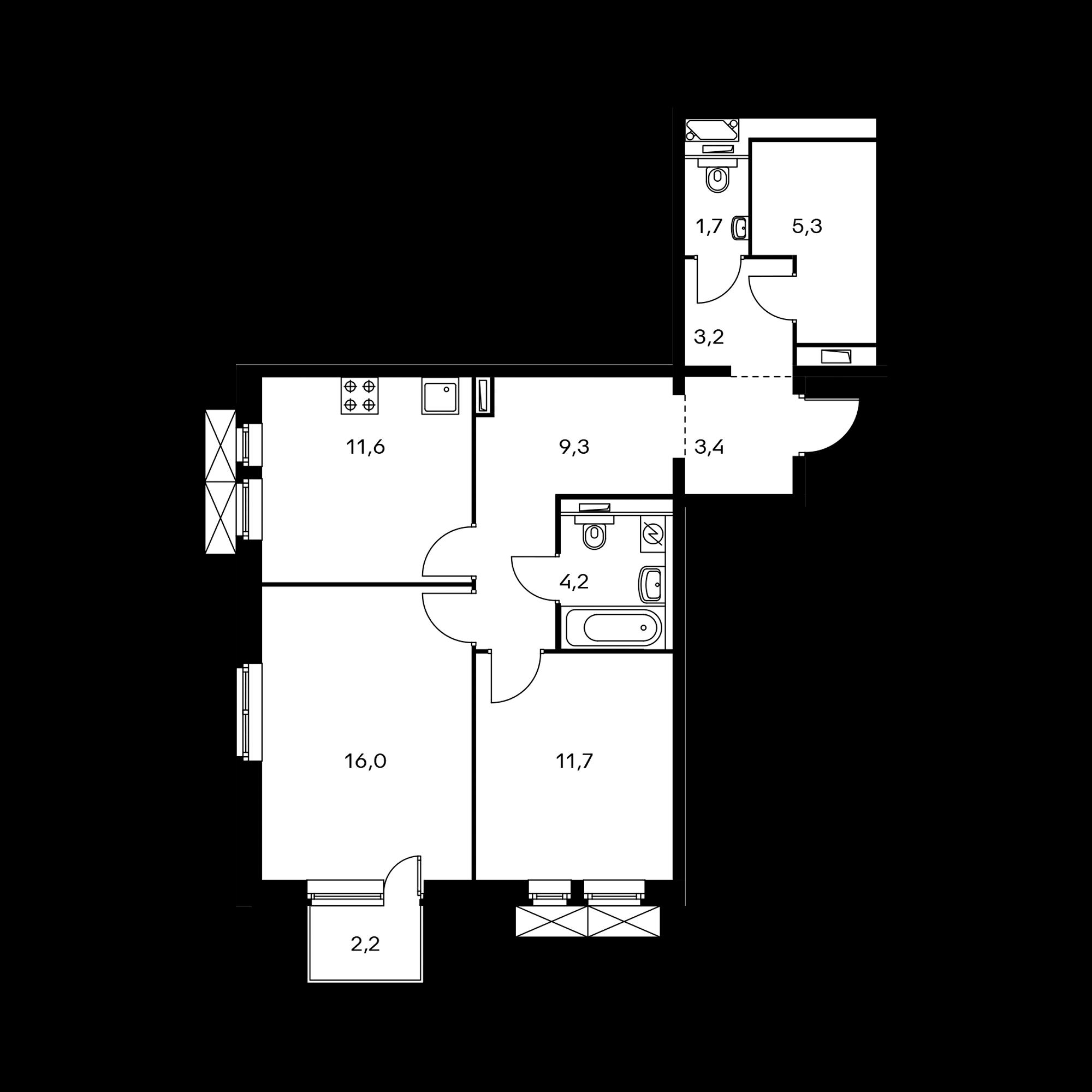 2-комнатная 65.3  м²