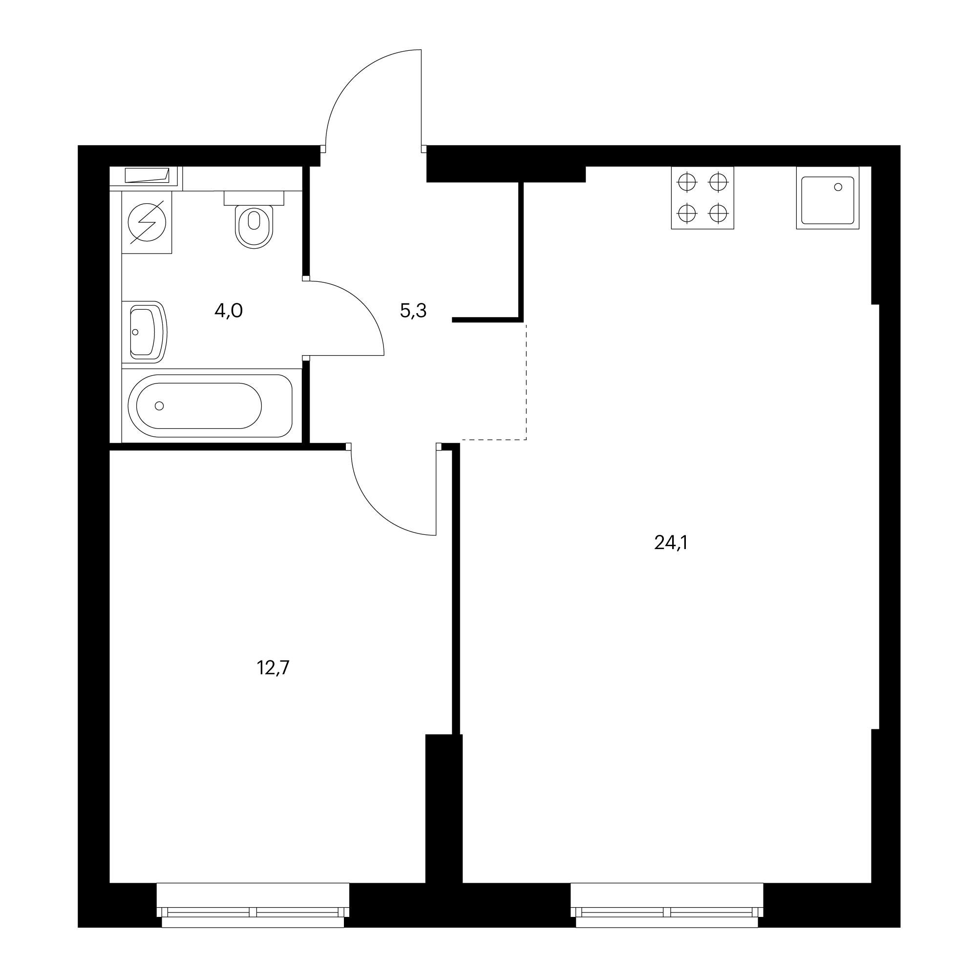 1-комнатная 46.1 м²