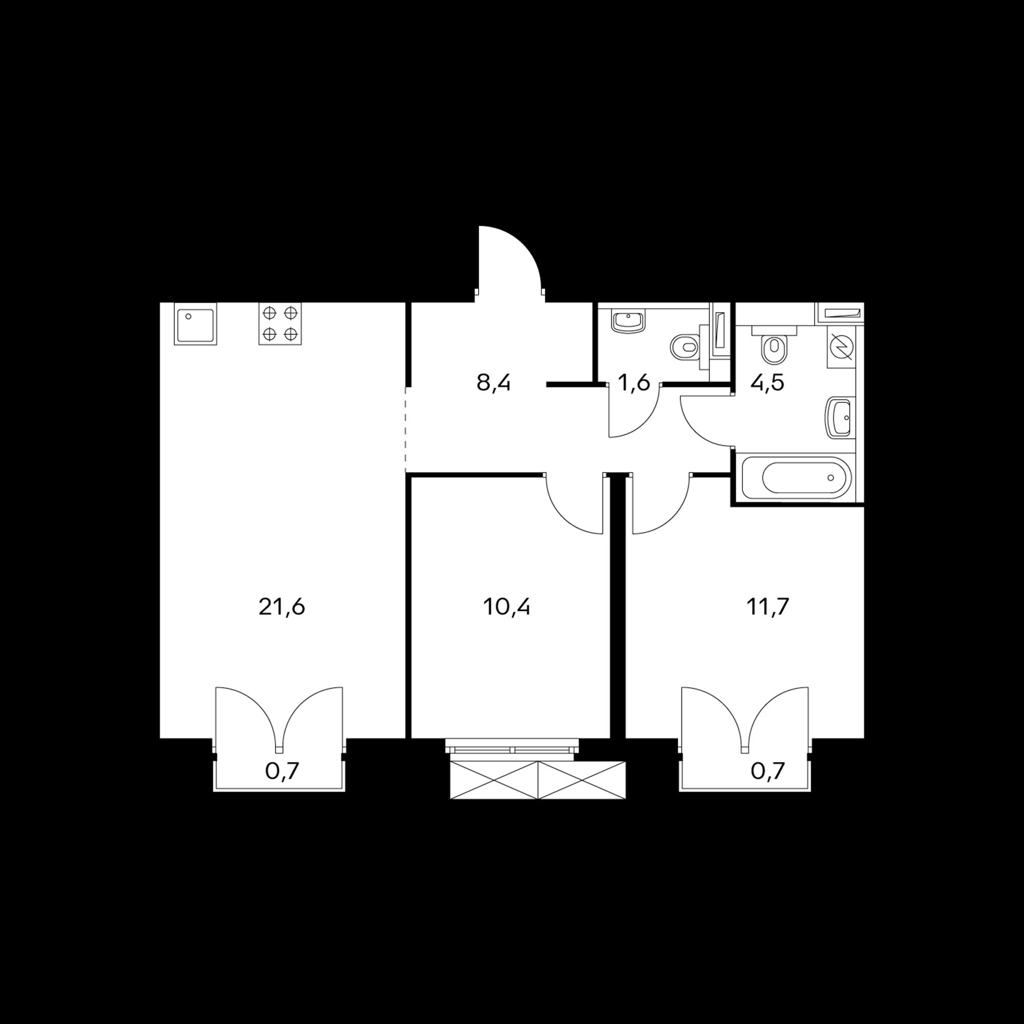 2-комнатная 58.6  м²