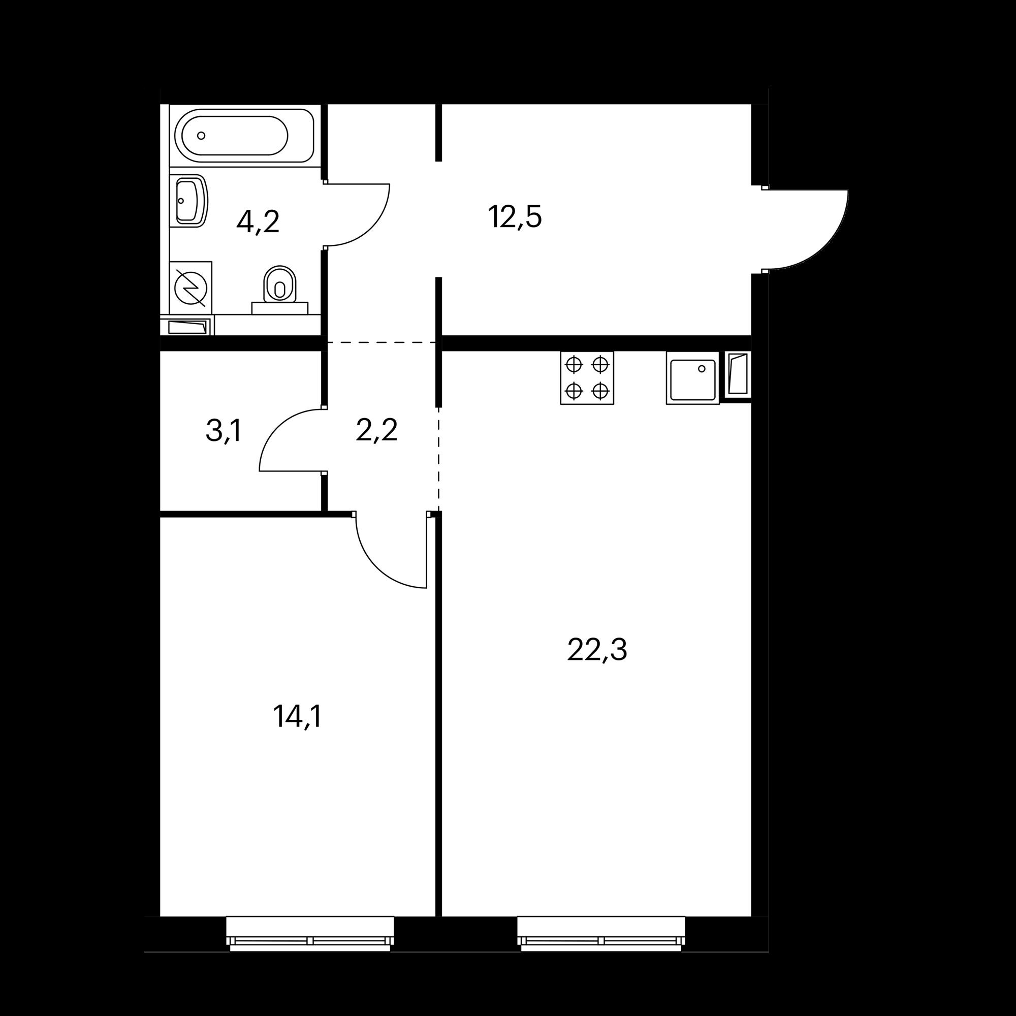 1-комнатная 58.4 м²