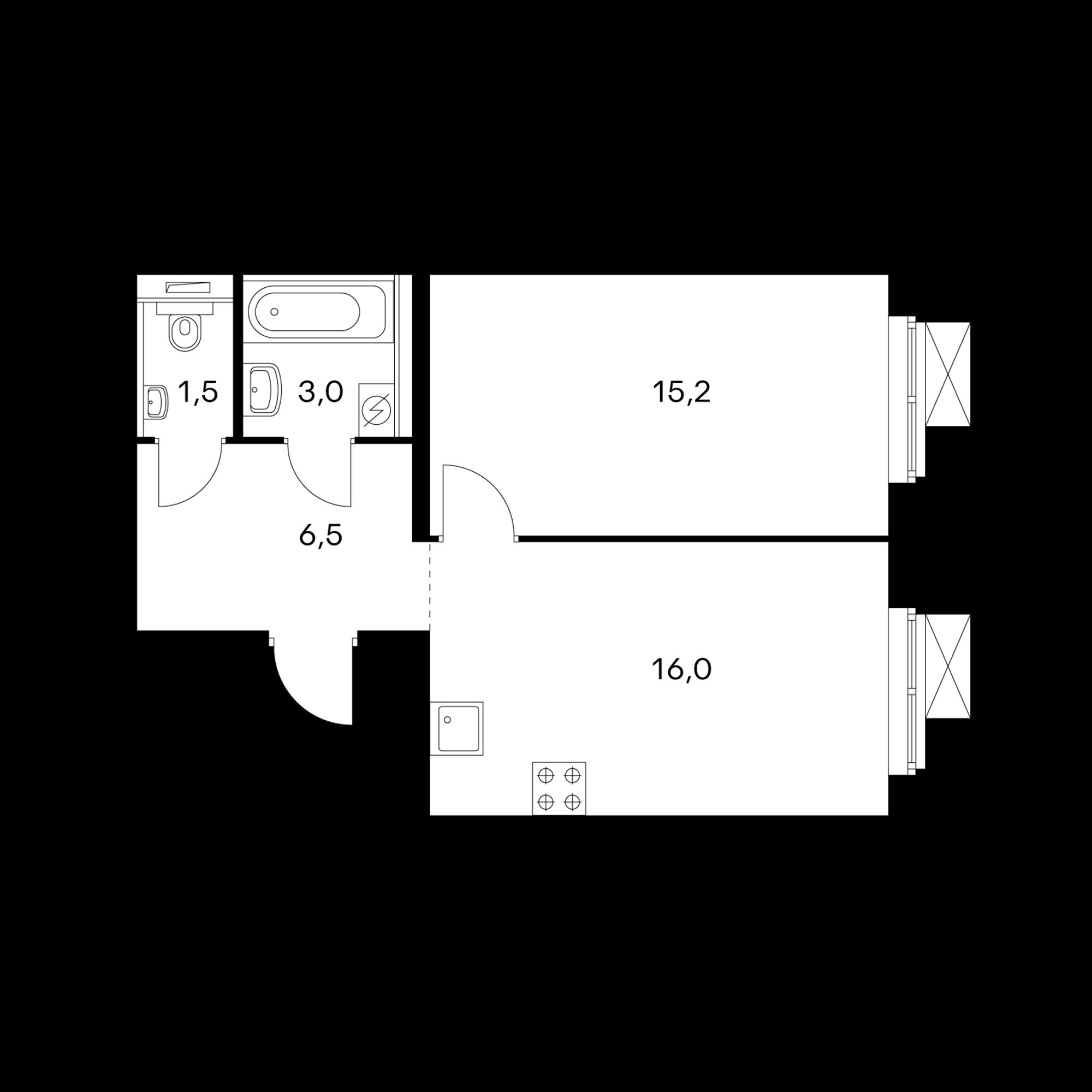 1-комнатная 42.1  м²