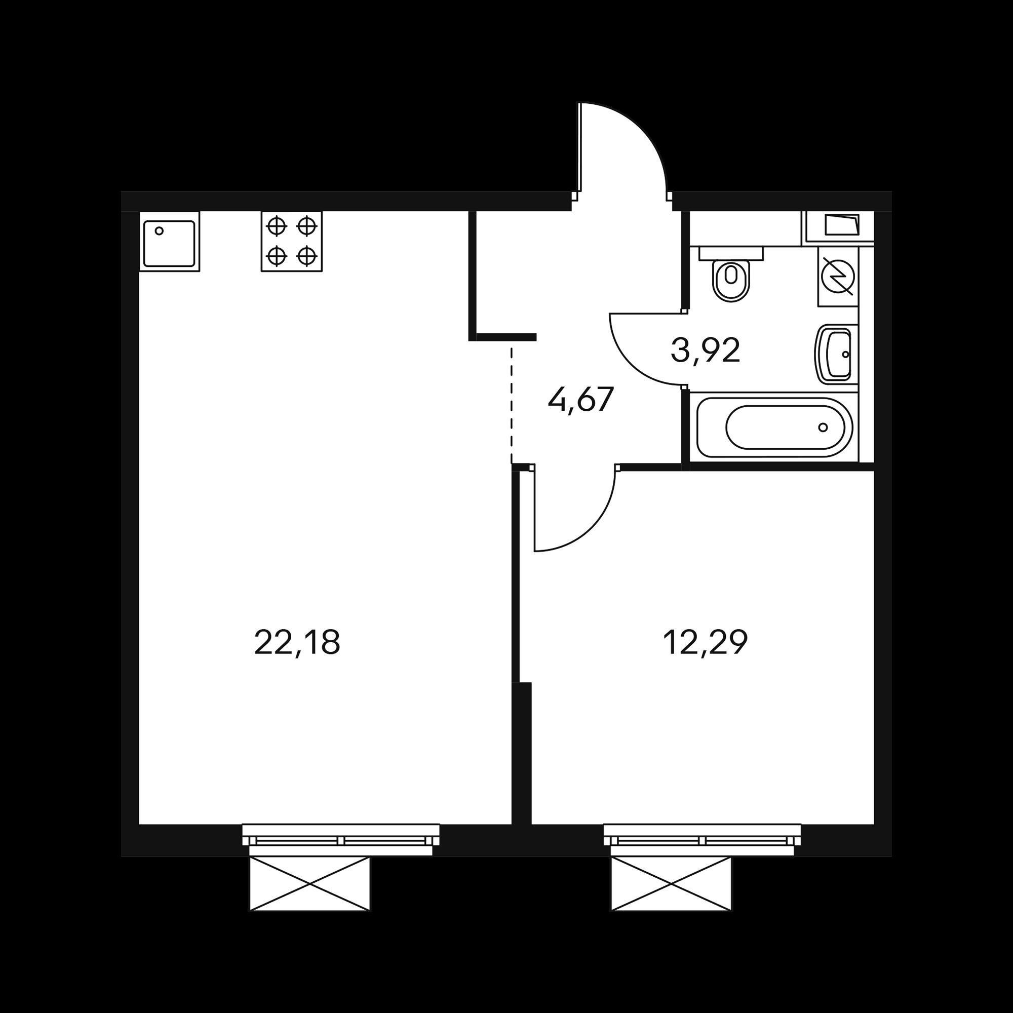 1-комнатная 43.06 м²