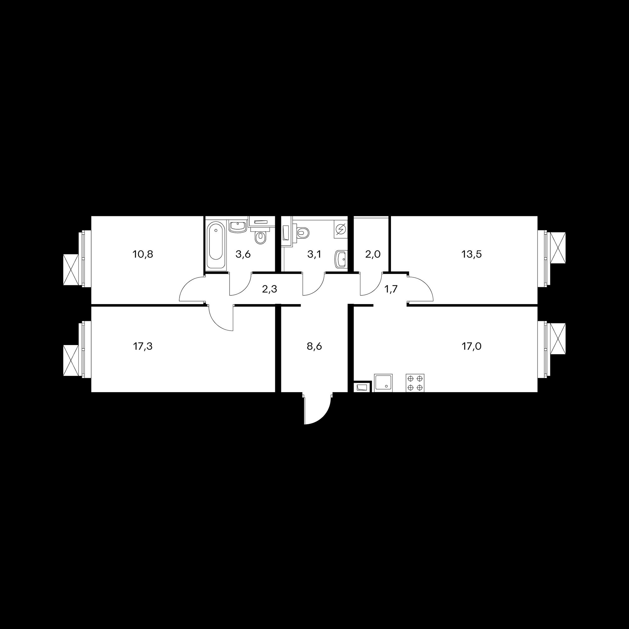 3-комнатная 79.6  м²