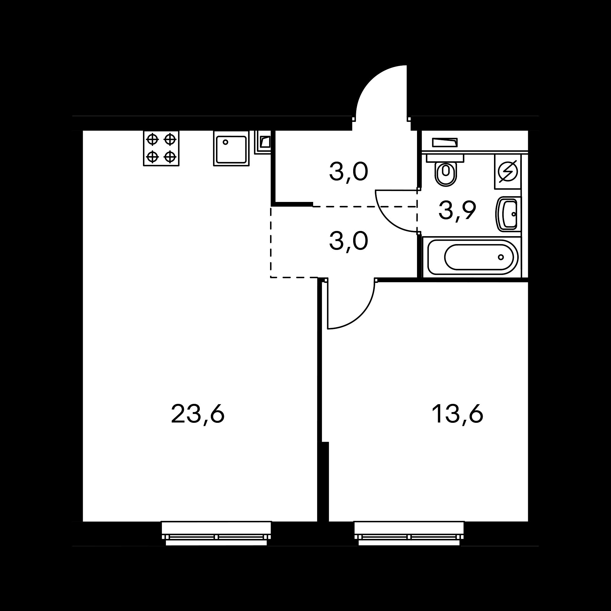 1-комнатная 47.3 м²
