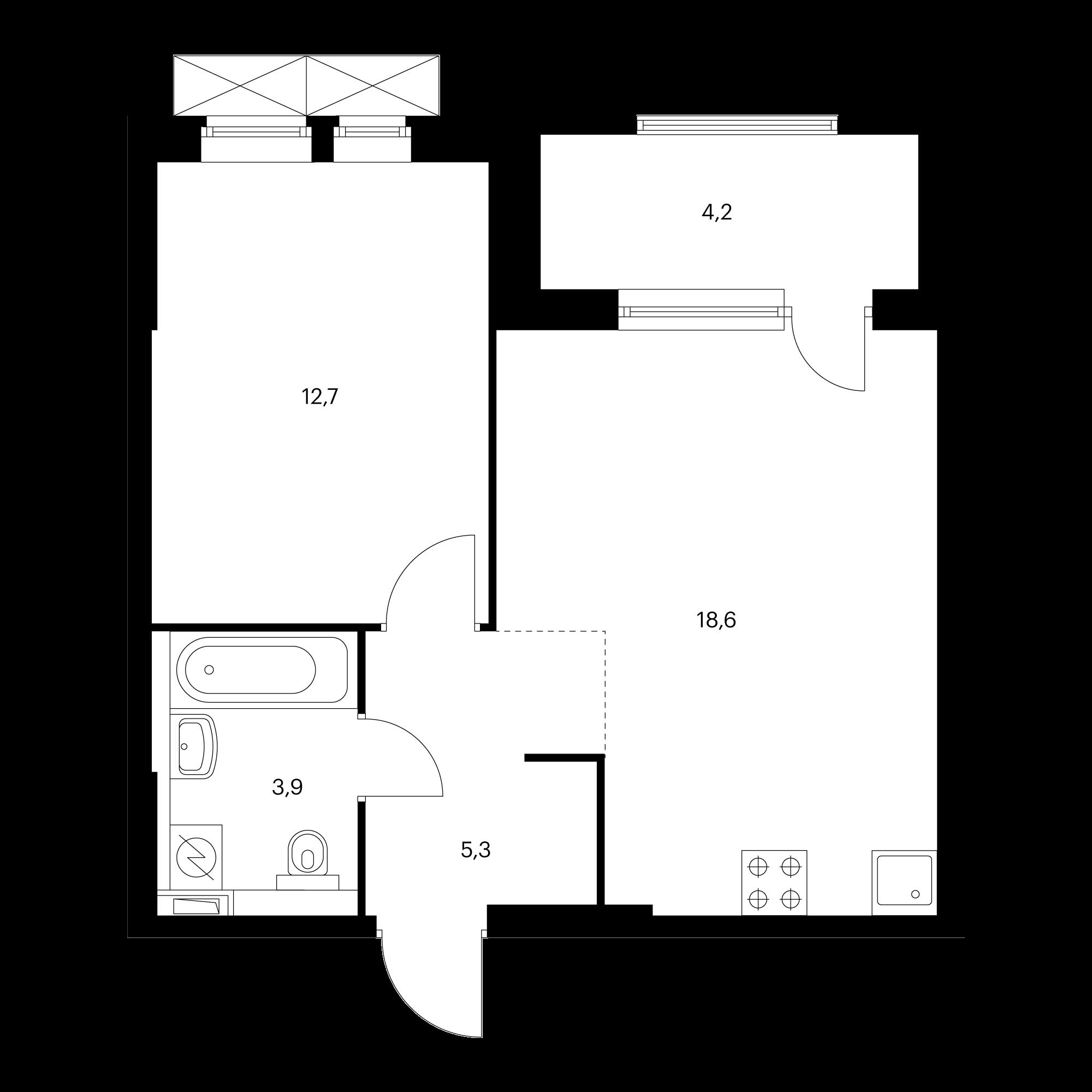 1-комнатная 43.6 м²