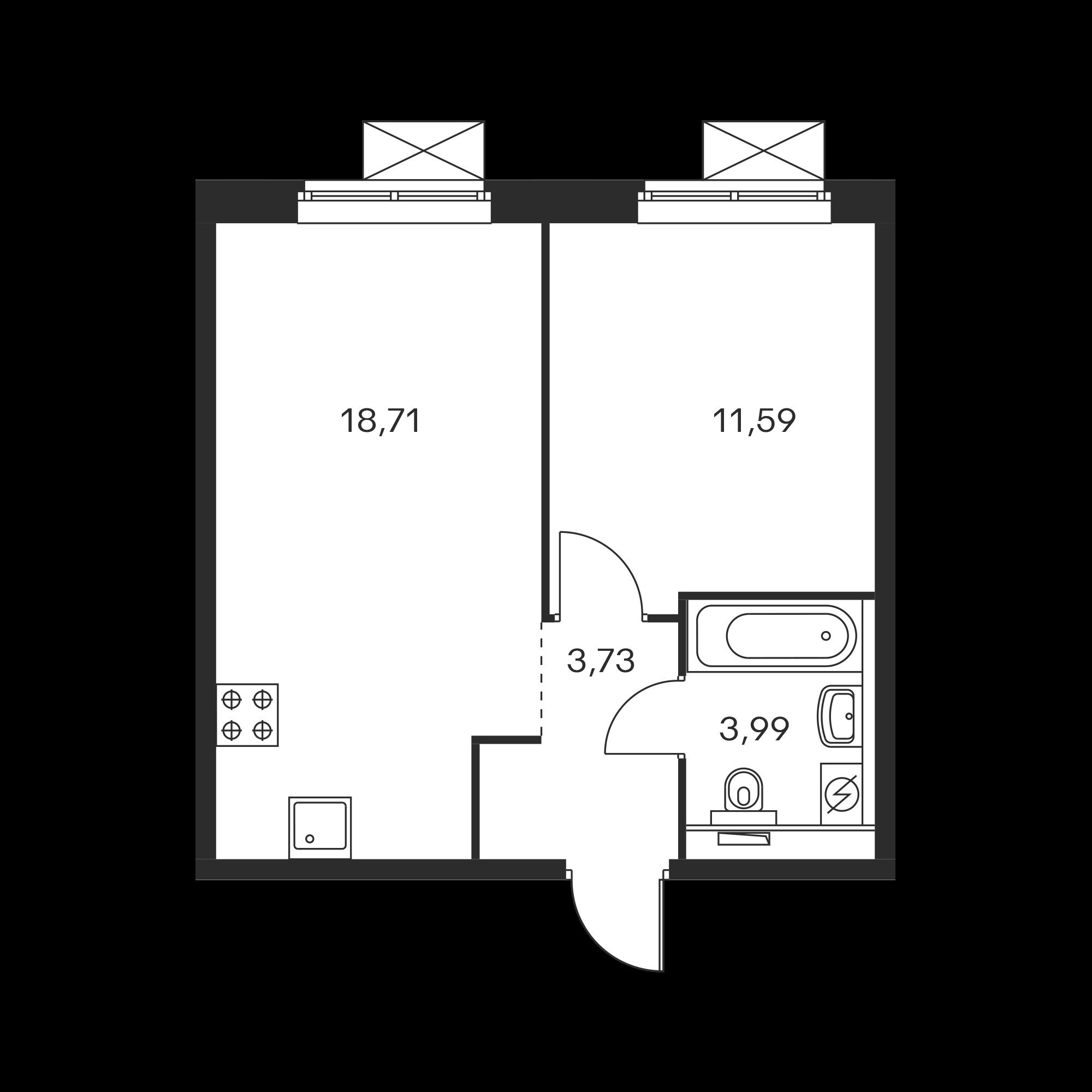 1-комнатная 38.03  м²