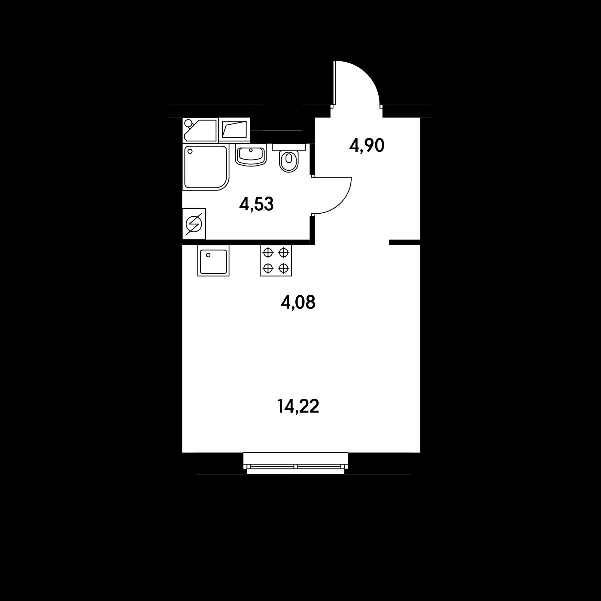 Студия 27.5  м²
