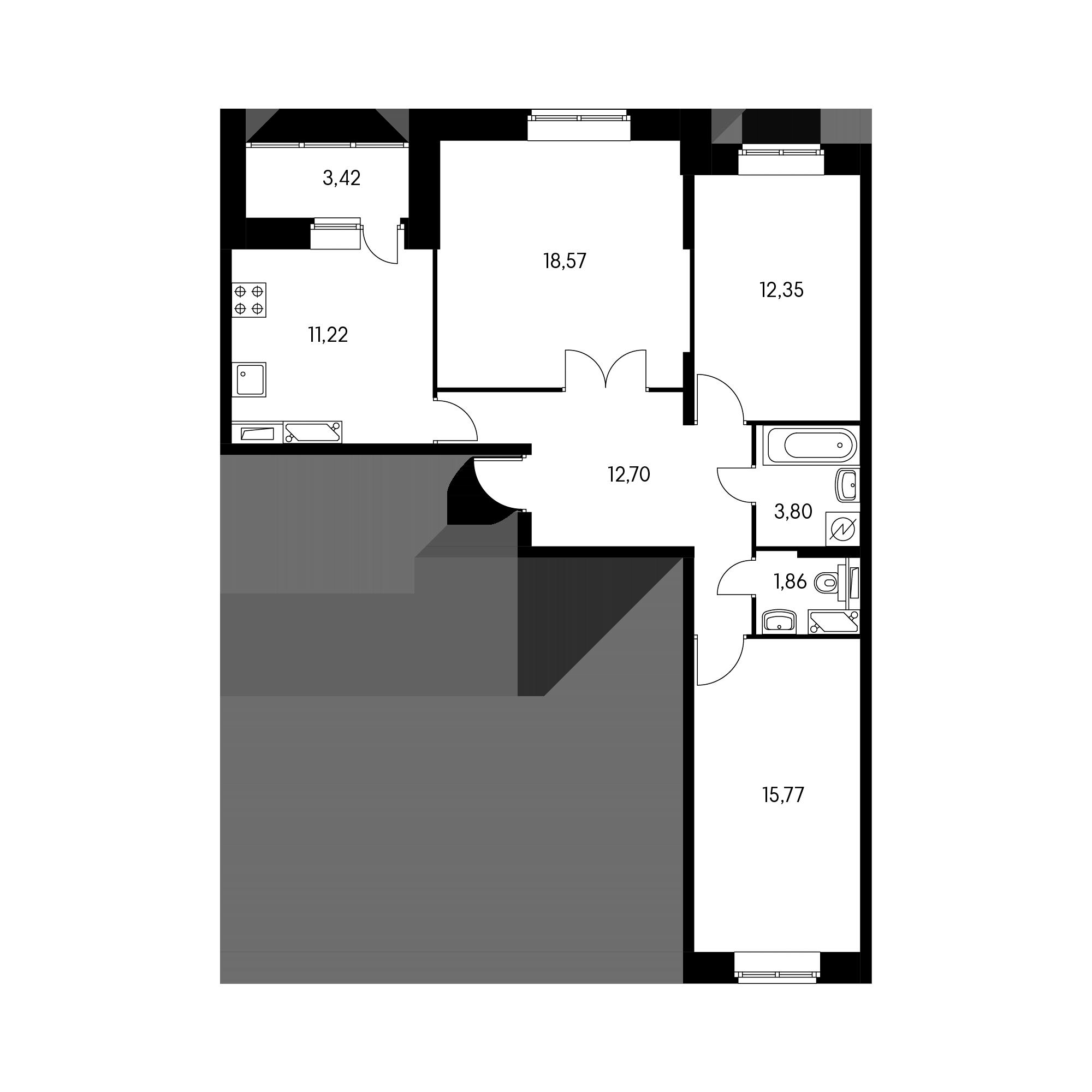 3-комнатная 77.5 м²