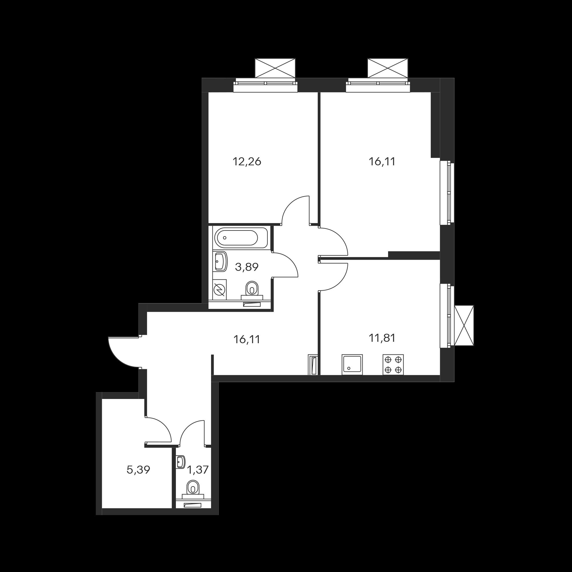 2-комнатная 66.93 м²