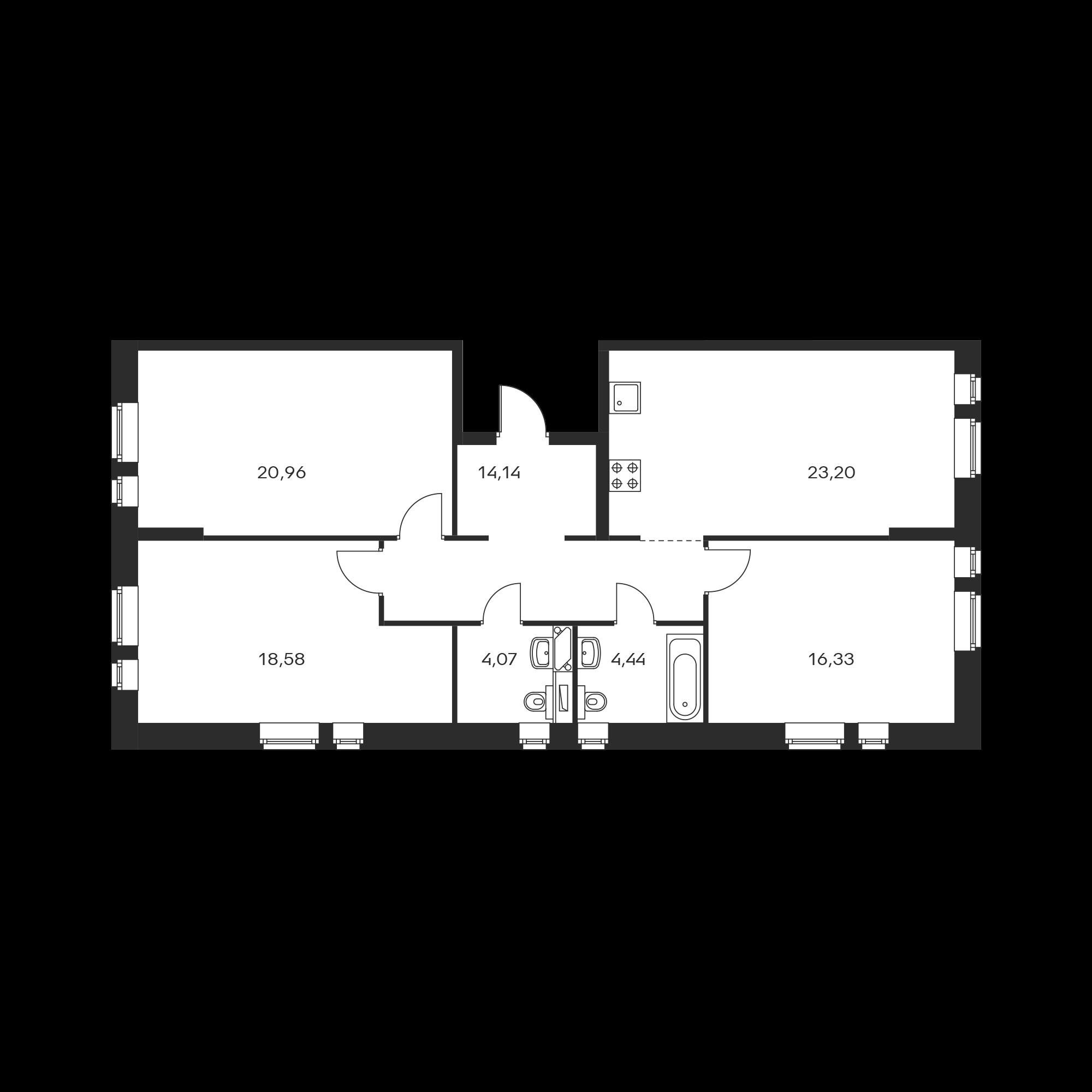 3-комнатная 101.72 м²