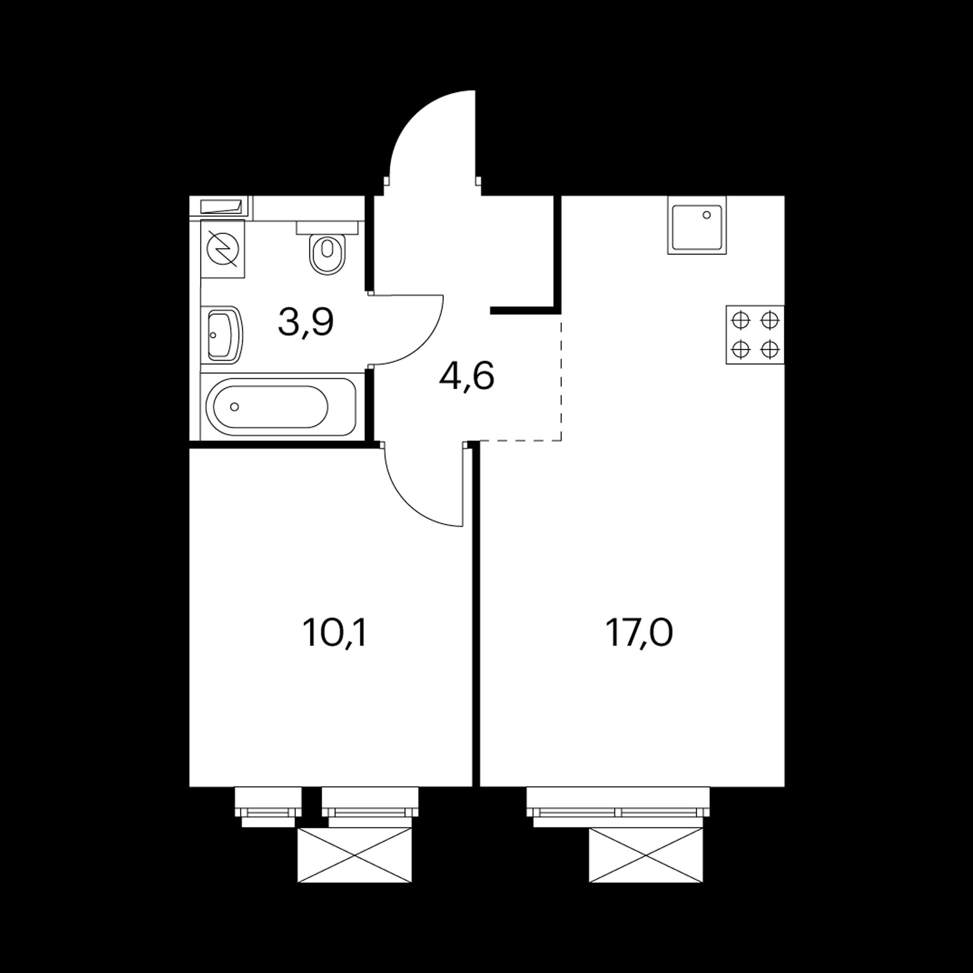 1-комнатная 35.6  м²
