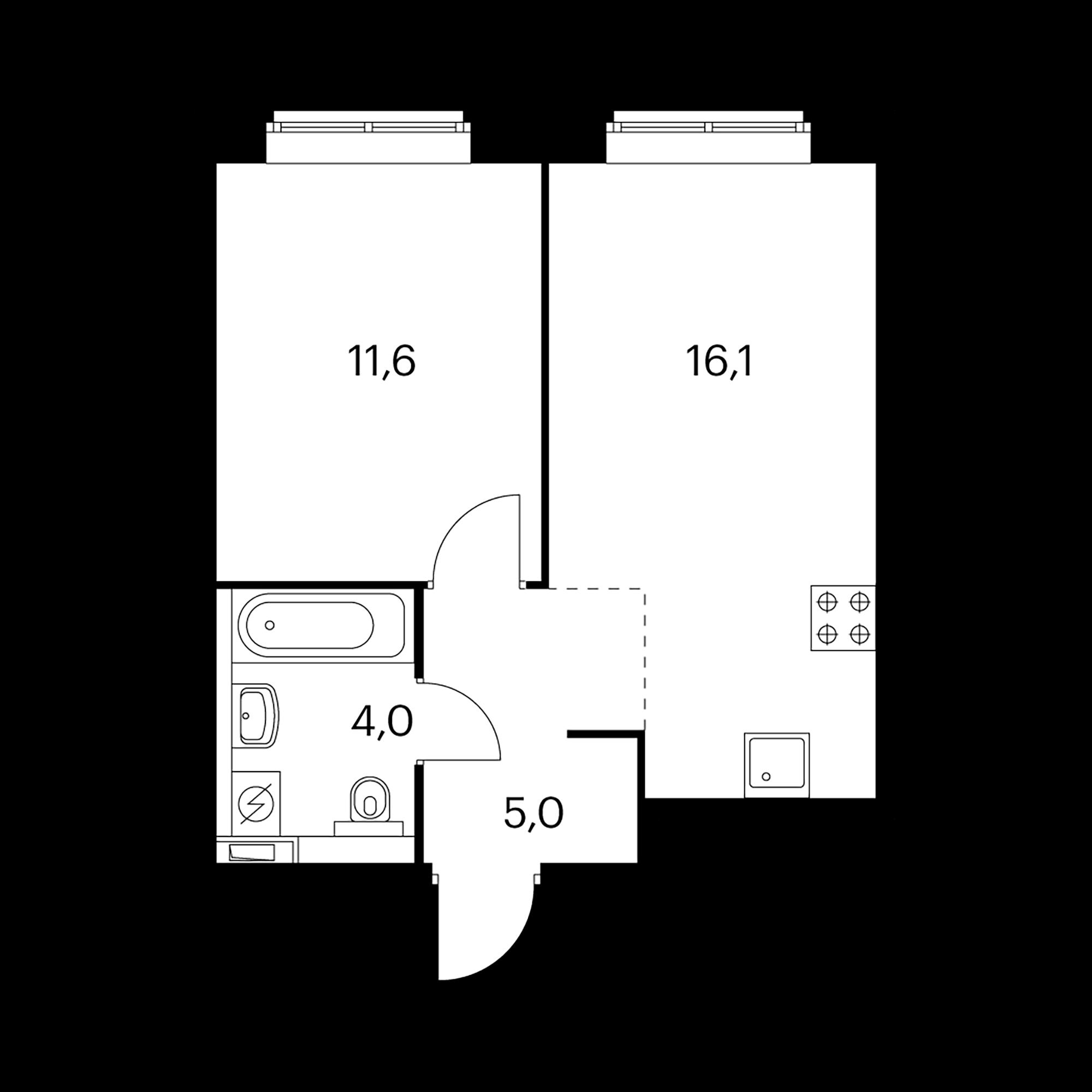 1-комнатная 36.7  м²
