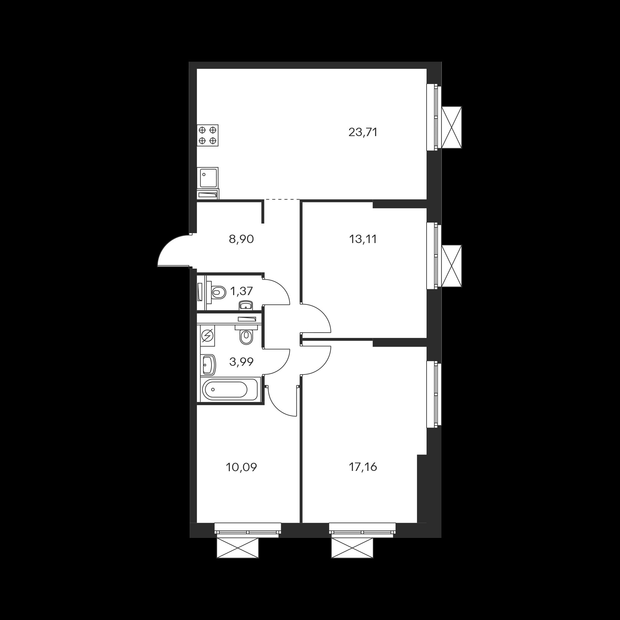 3-комнатная 78.28  м²